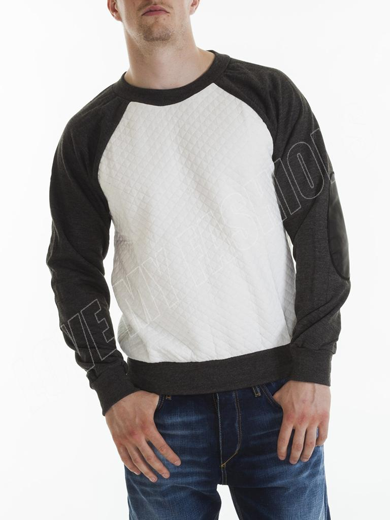 Mens Raglan Sweatshirt Quilted Patched Sleeve Crew Neck Size S M L ...