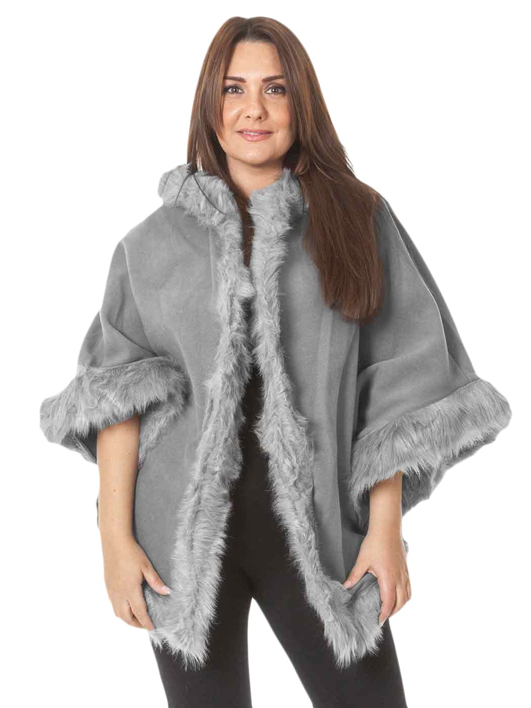Womens Poncho Cape Cardigan Winter Wrap Wool Casual Jackets Fur Trim Hooded Warm