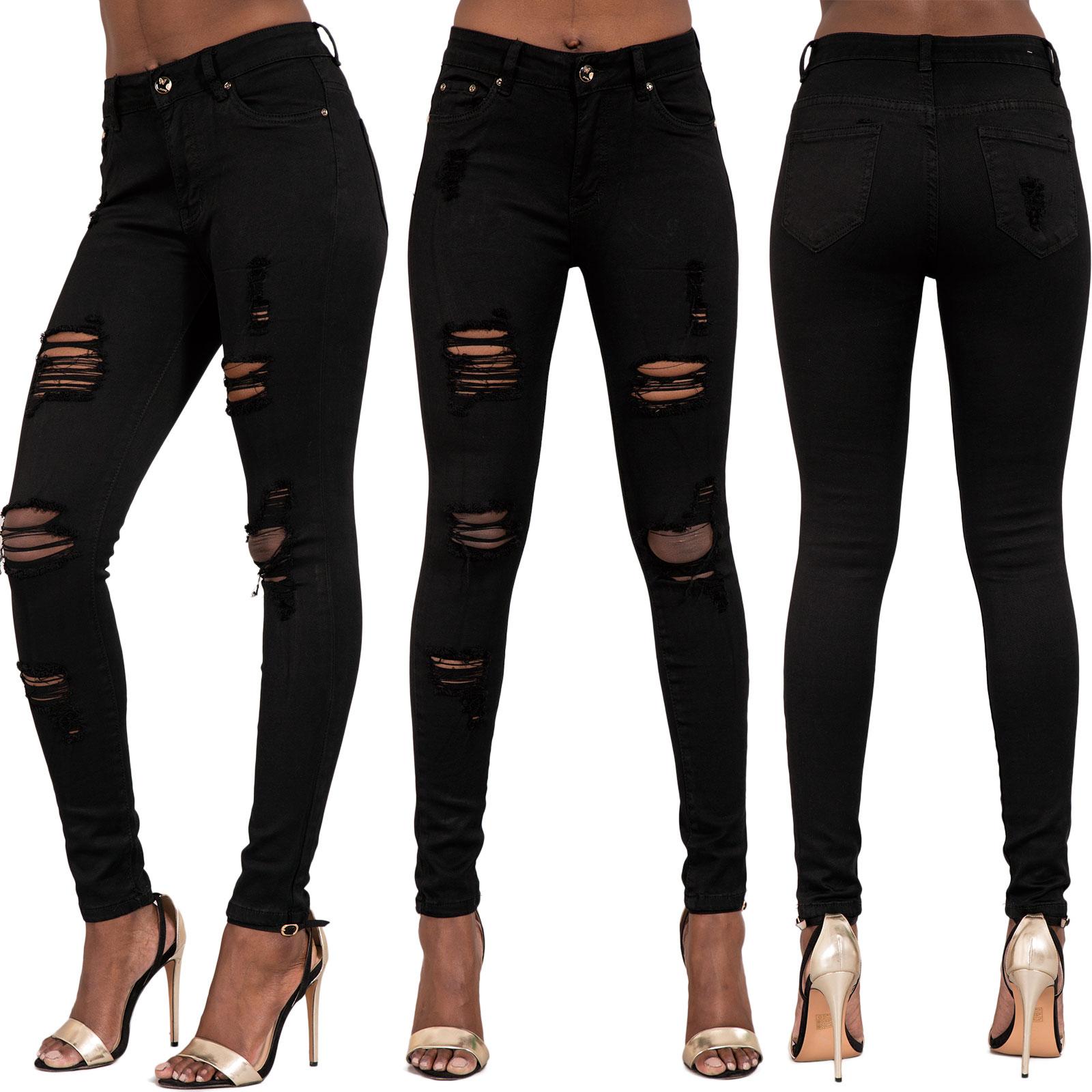 Frauen hoch tailliert zerrissene jeans damen verwaschen - Zerrissene jeans damen ...