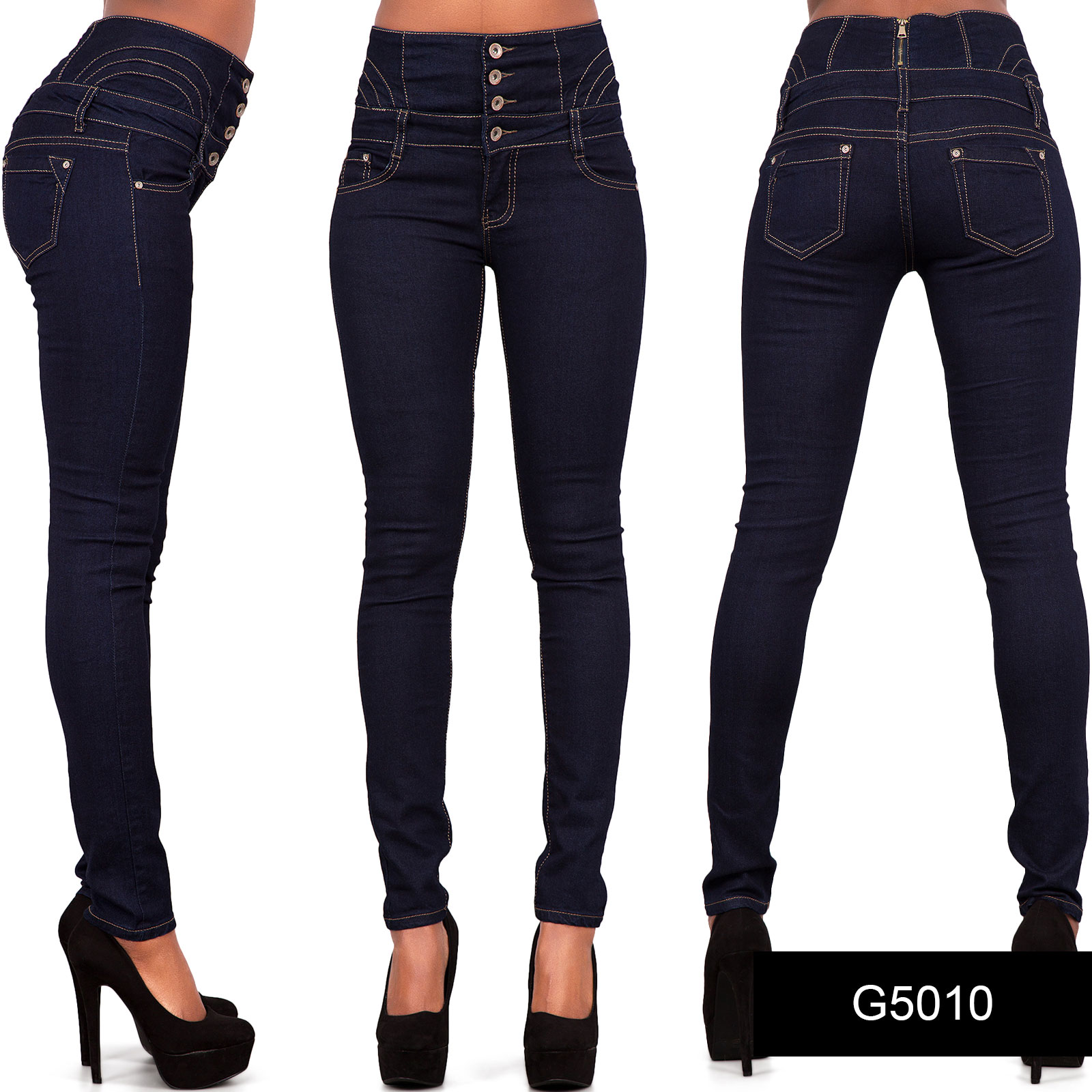 Womens Blue Red White Black High Waist Jeans Skinny Stretch Denim ...