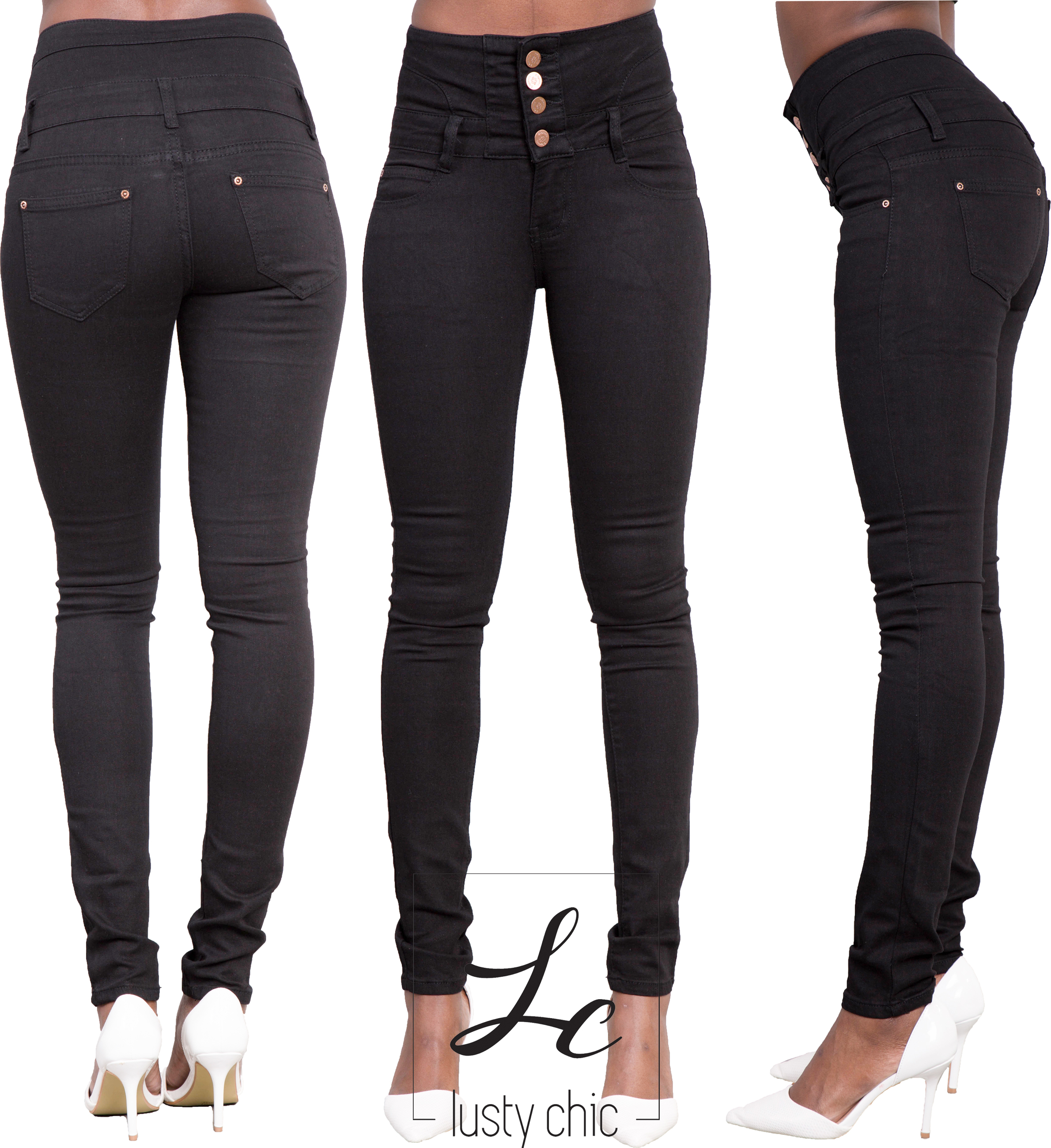 femme noir sexy jeans moulant femmes taille haute pantalon taille 34 36 38 40 14 ebay. Black Bedroom Furniture Sets. Home Design Ideas