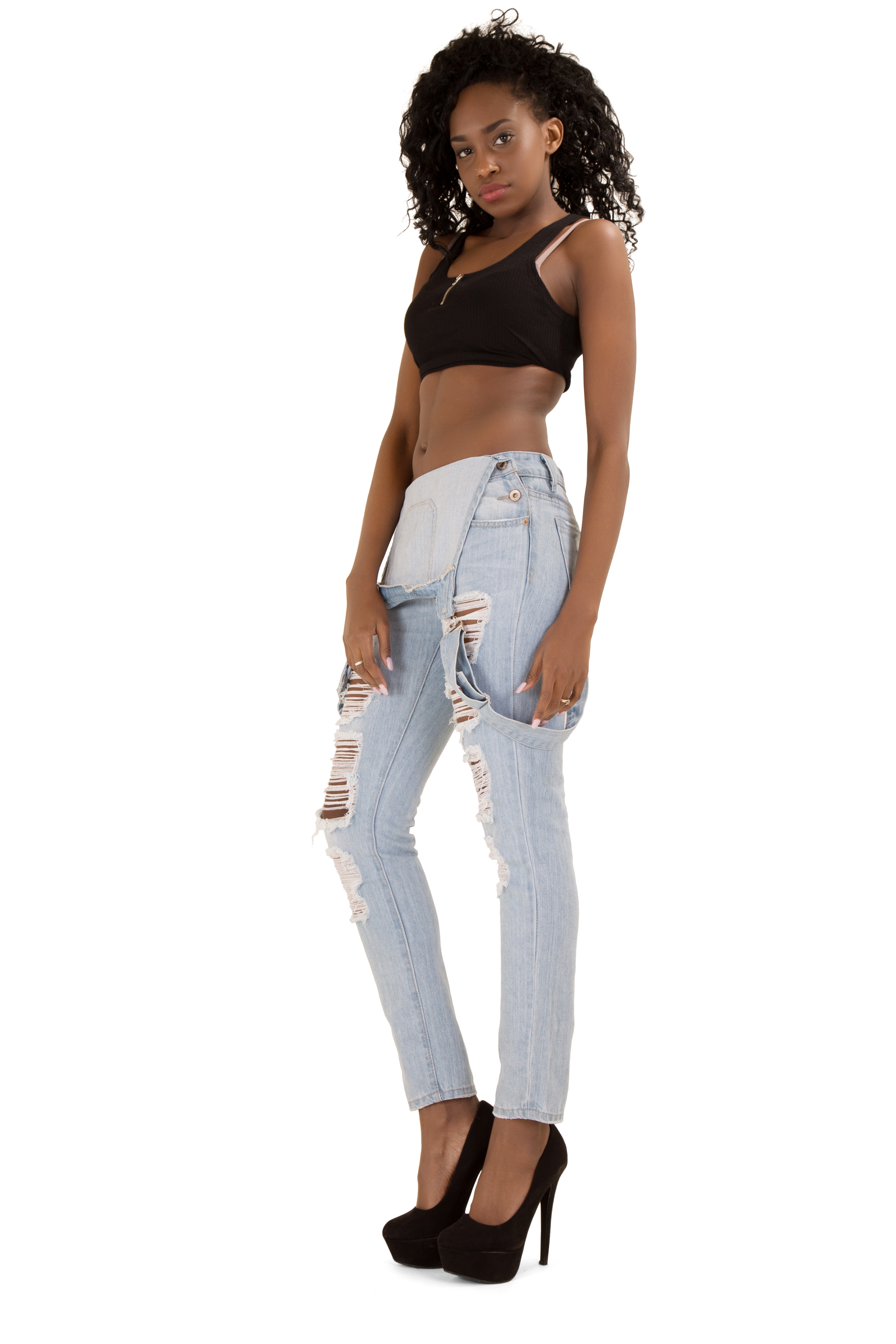 Women new ladies denim ripped dungaree Jeans size 8 10 12 14