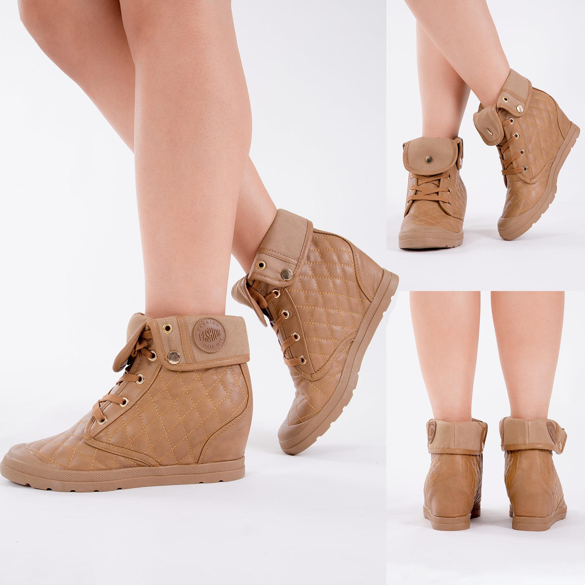 Mujer Tacón Con Plataforma Oculta Alta Tops Zapatillas Damas Botas Hasta el Tobillo Zapatos Plataforma