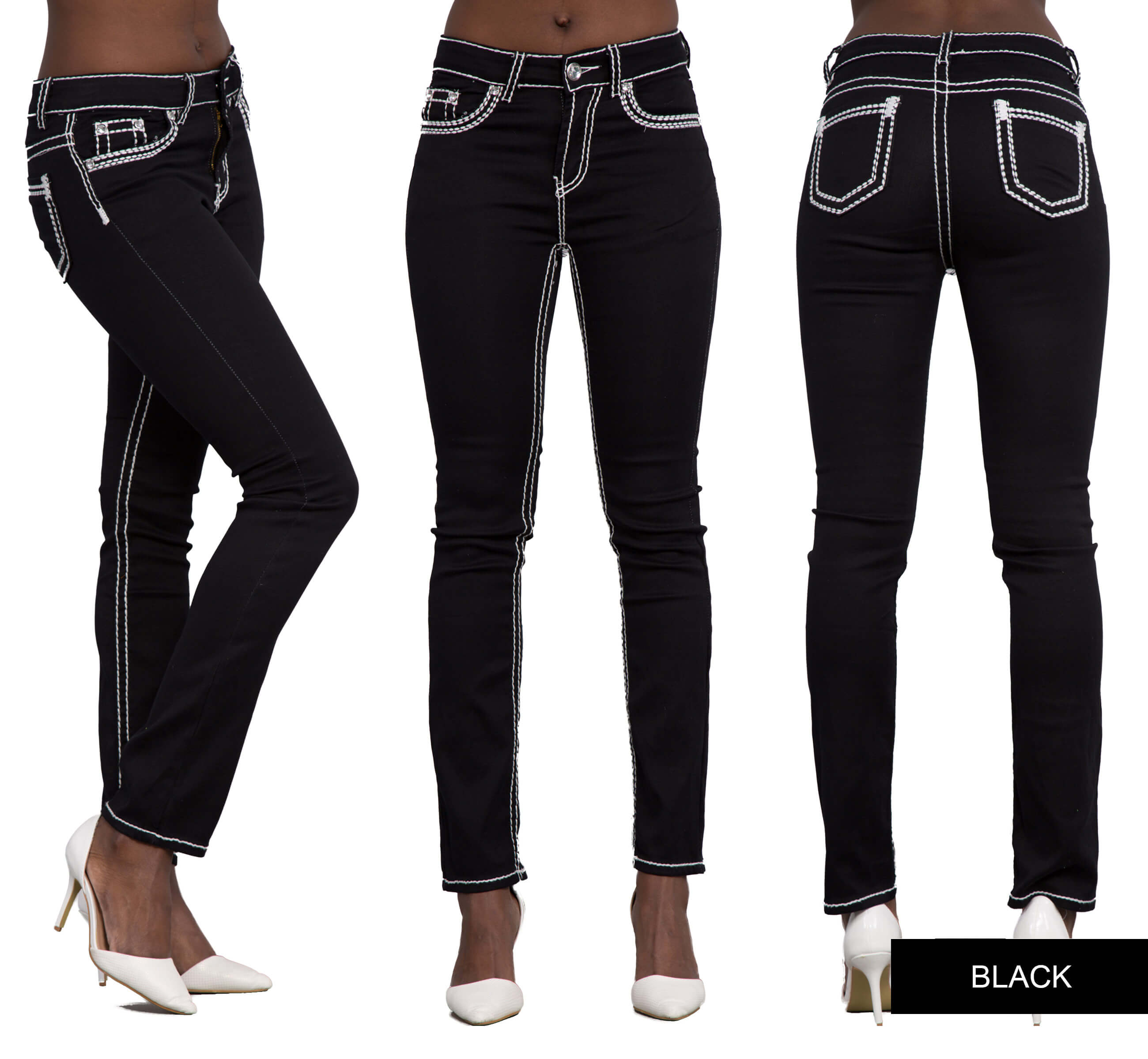 Ladies black blue red mid waist straight cut jeans size 8 10 12 14 16