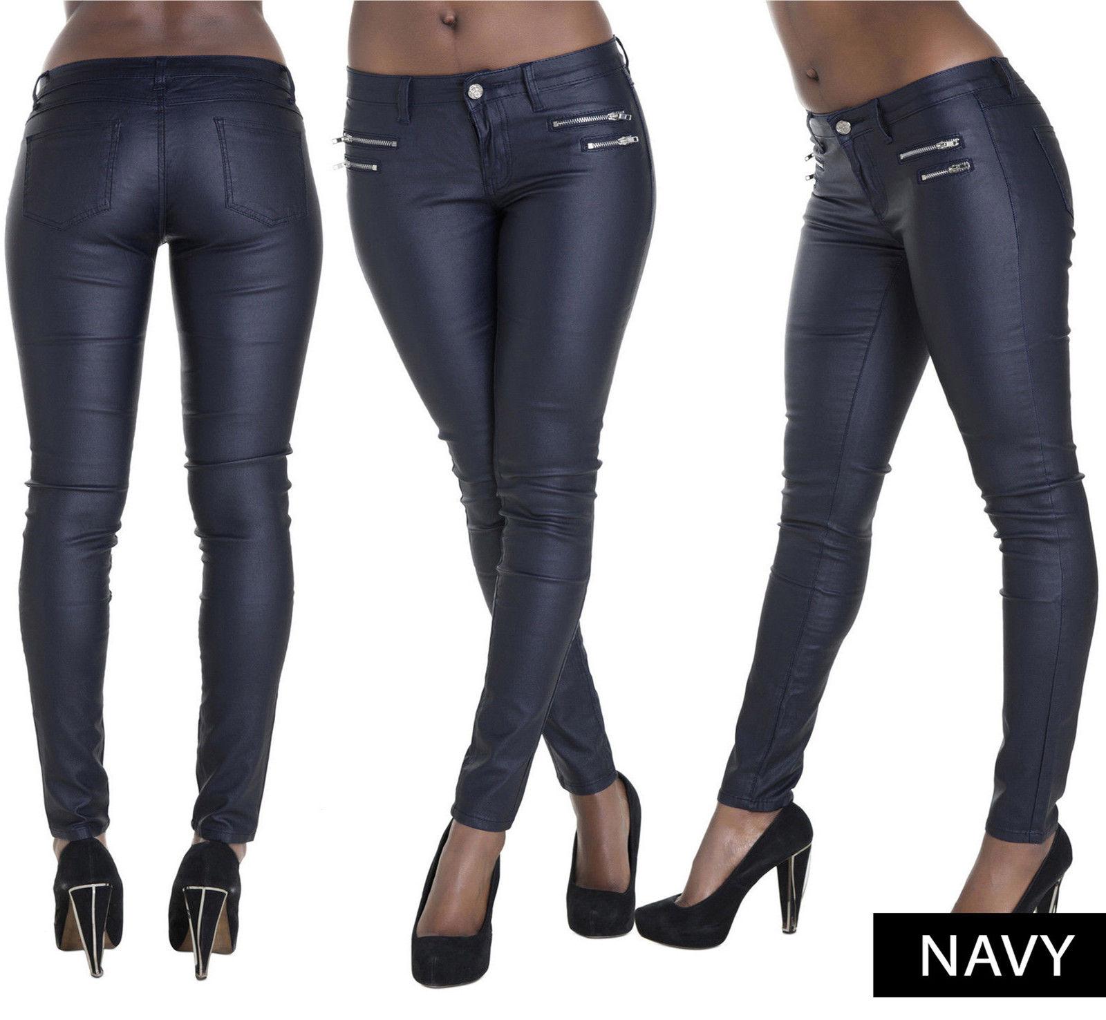 damen lederoptik leggings lack optik hosen slim fit jeans. Black Bedroom Furniture Sets. Home Design Ideas