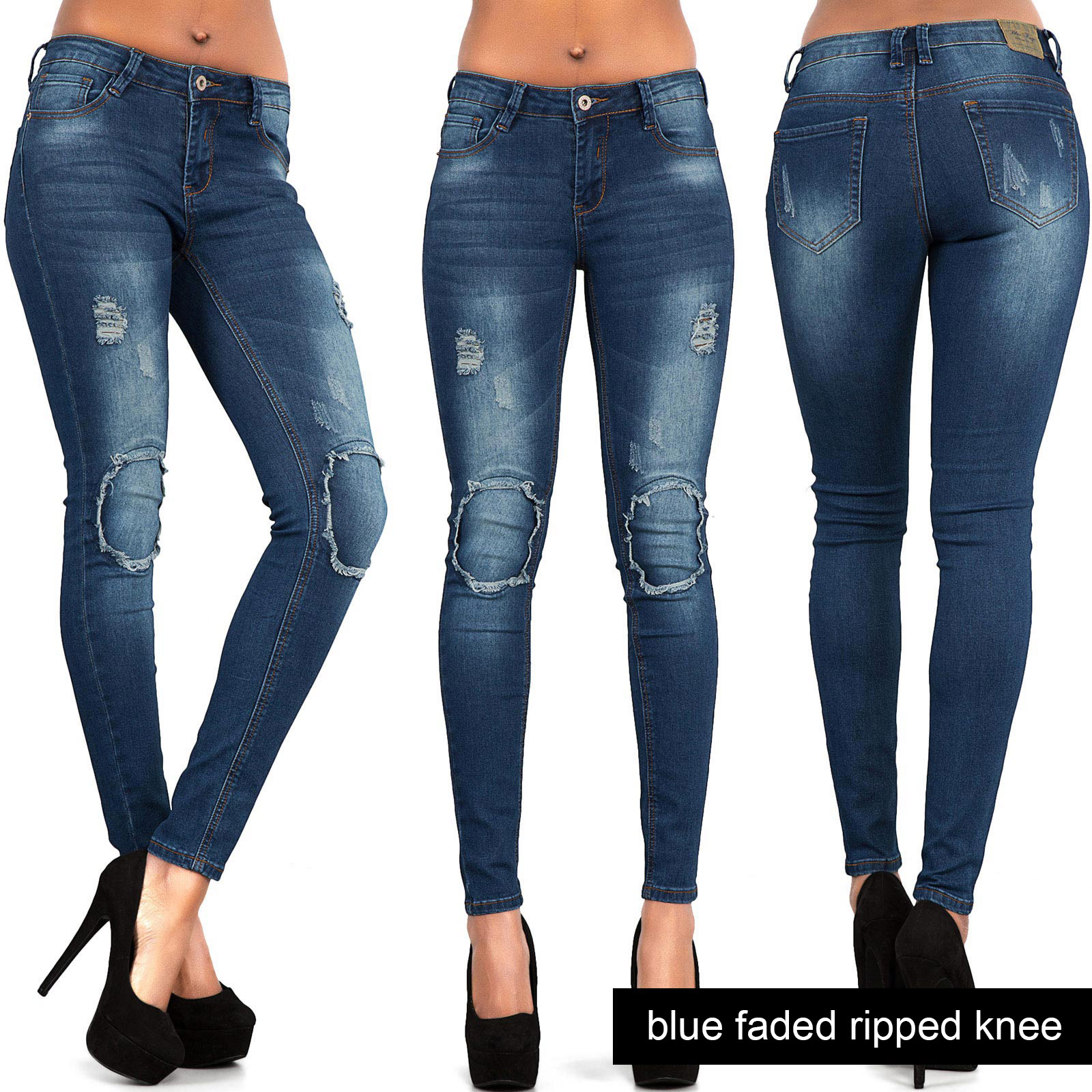 Womens-Ripped-Skinny-Jeans-Ladies-Sexy-Stretch-Denim-Slim-Fit-Jeggings-Size-6-14