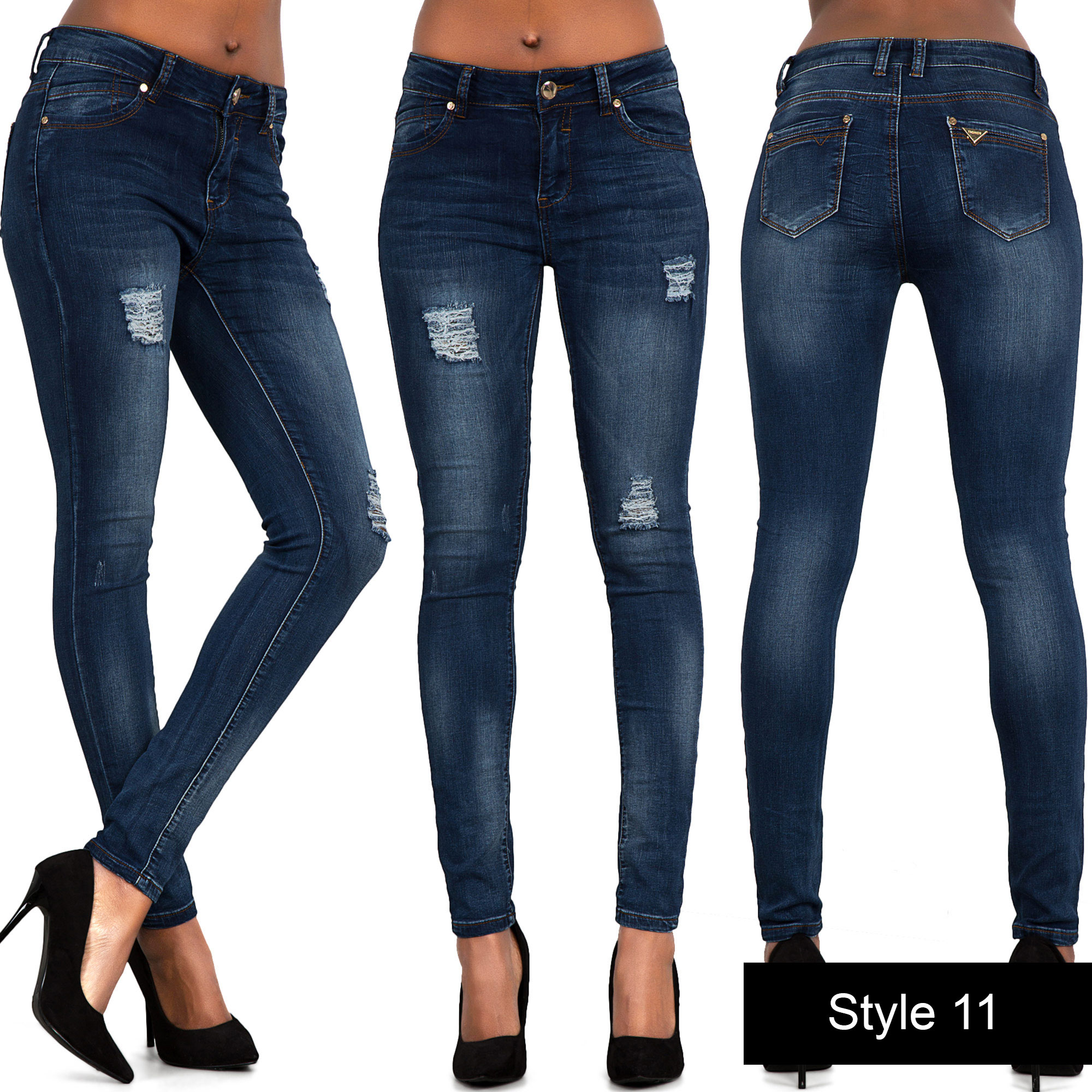 NEW WOMENS LADIES JEANS FADED SLIM FIT SKINNY DENIM SIZE 6 8 10 12 ...