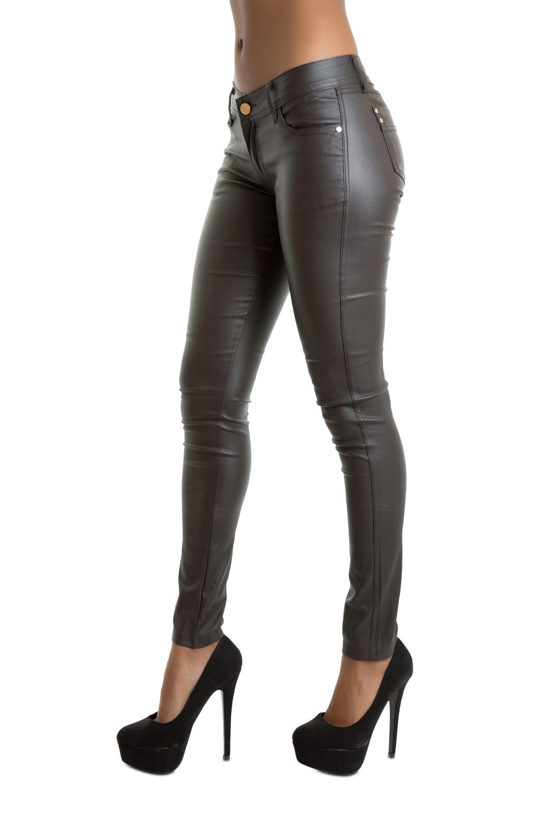 Women Brown Leather Look Leggings Wet Look Trousers Slim Fit Jeans ...
