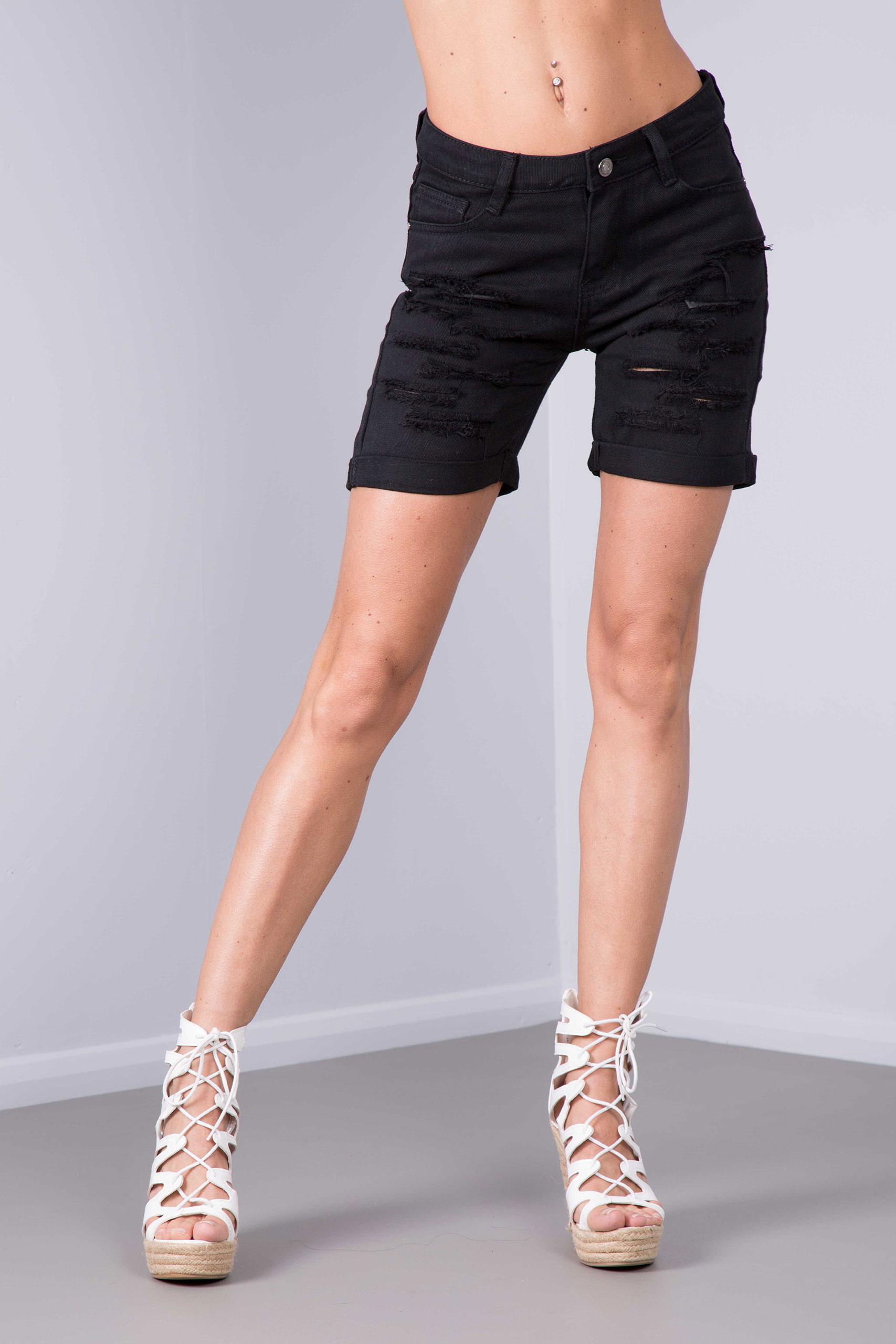New Womens Ladies Black White Ripped Jeans Pant Summer Denim ...