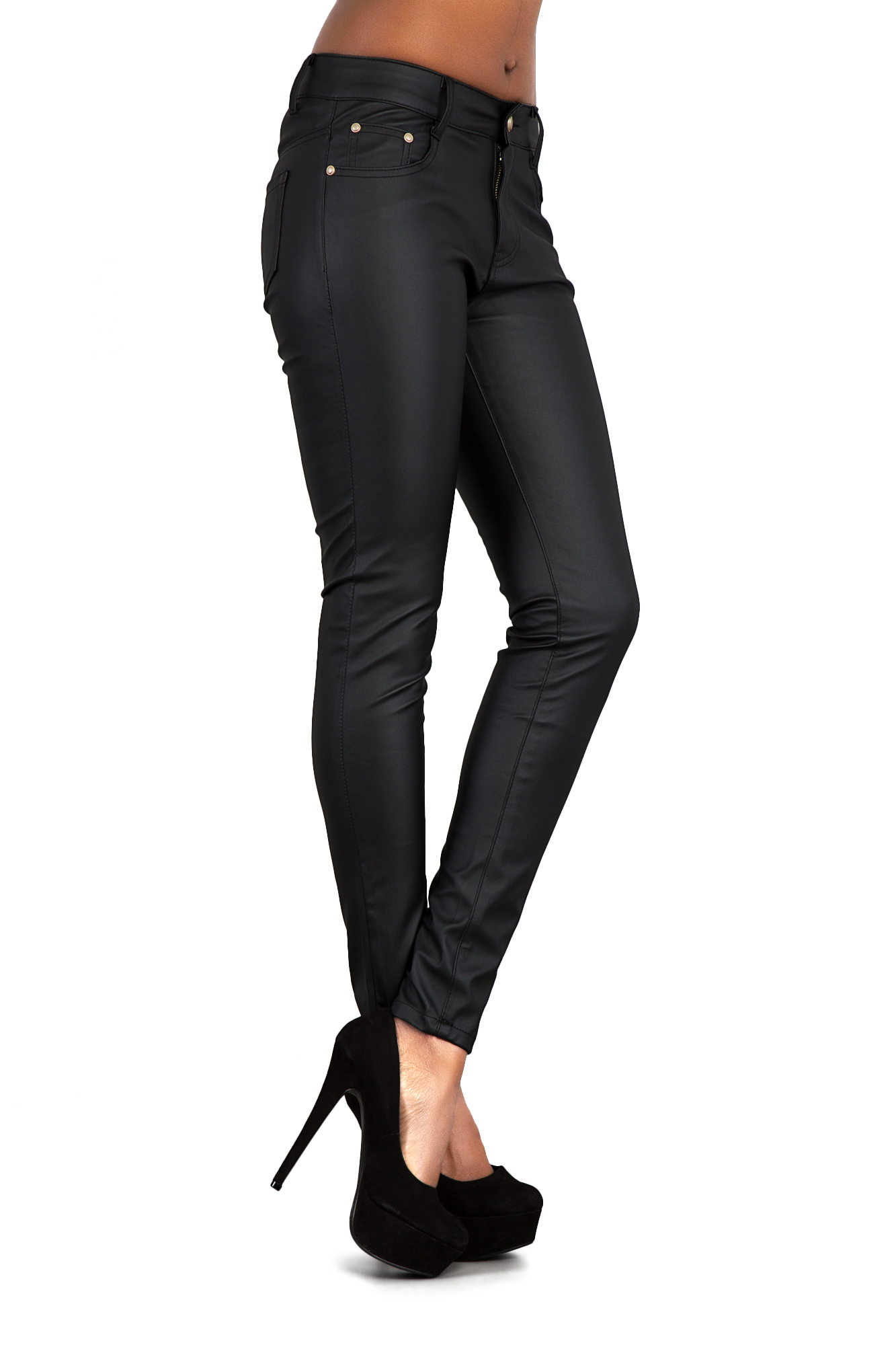 Womens Ladies Black Wet Look Leather Jeans Skinny Trouser ...