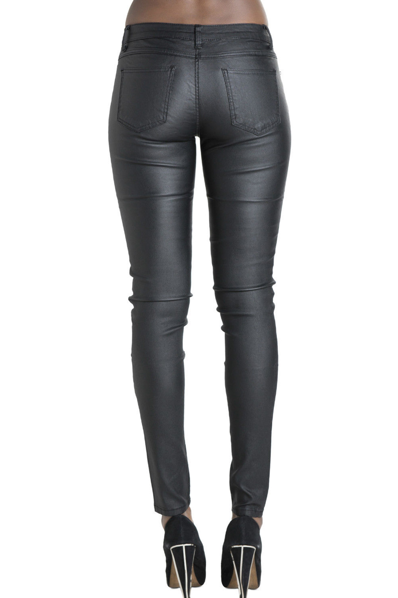 Ladies Women Black Leather Look Leggings Wet Look Trousers Plus ...