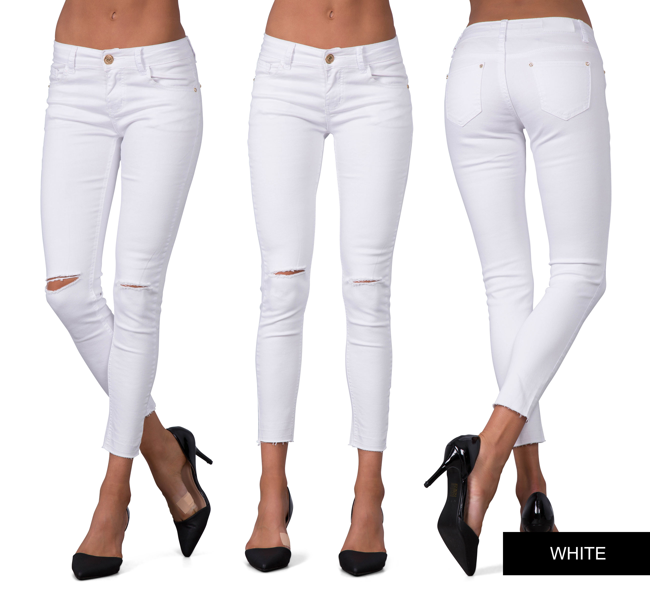 Women Ripped Knee Sexy Skinny Jeans Womens High Waisted Jegging 6 ...