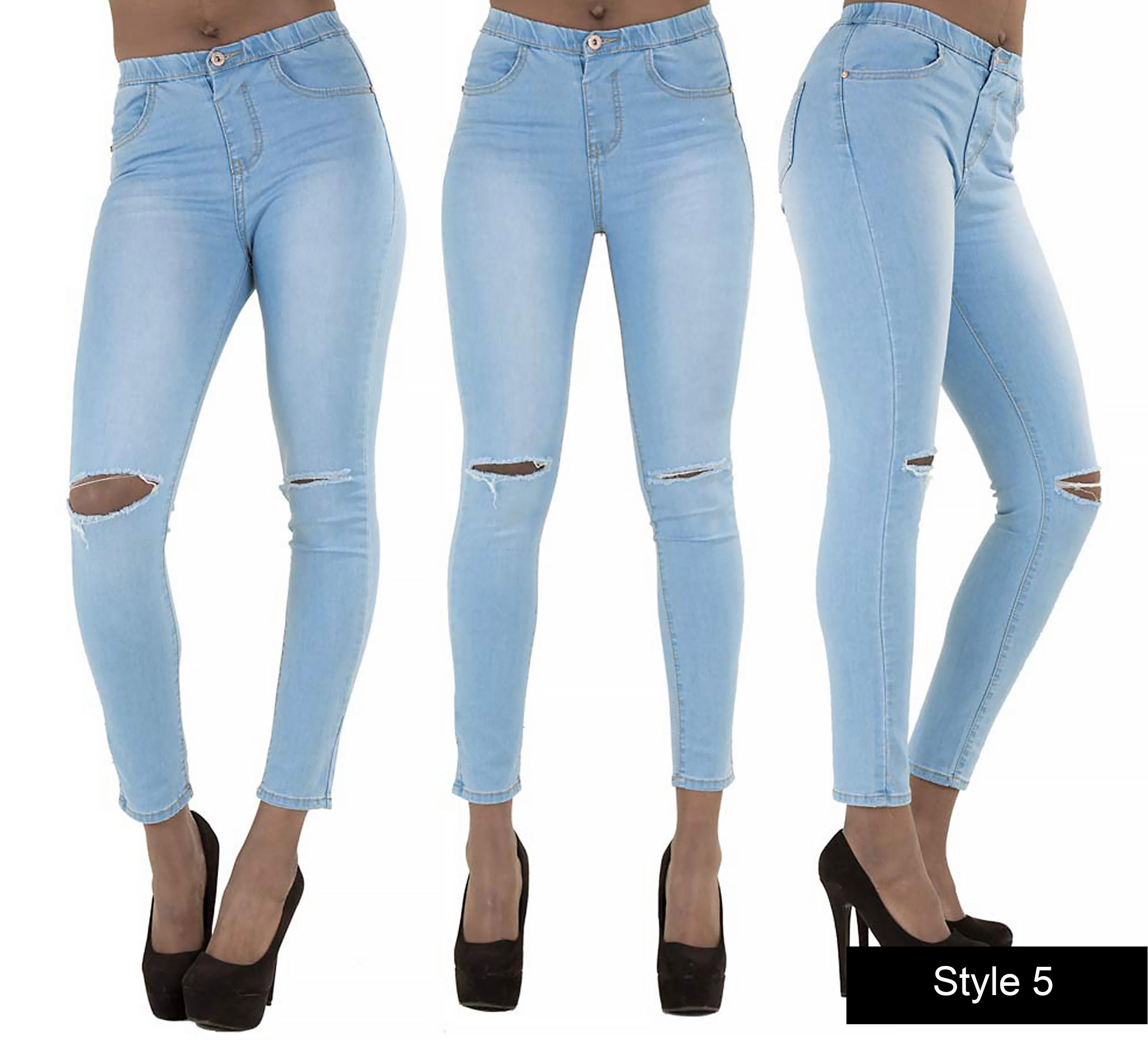Ladies Womens High Waisted Ripped Knee Skinny Jeans White Denim ...