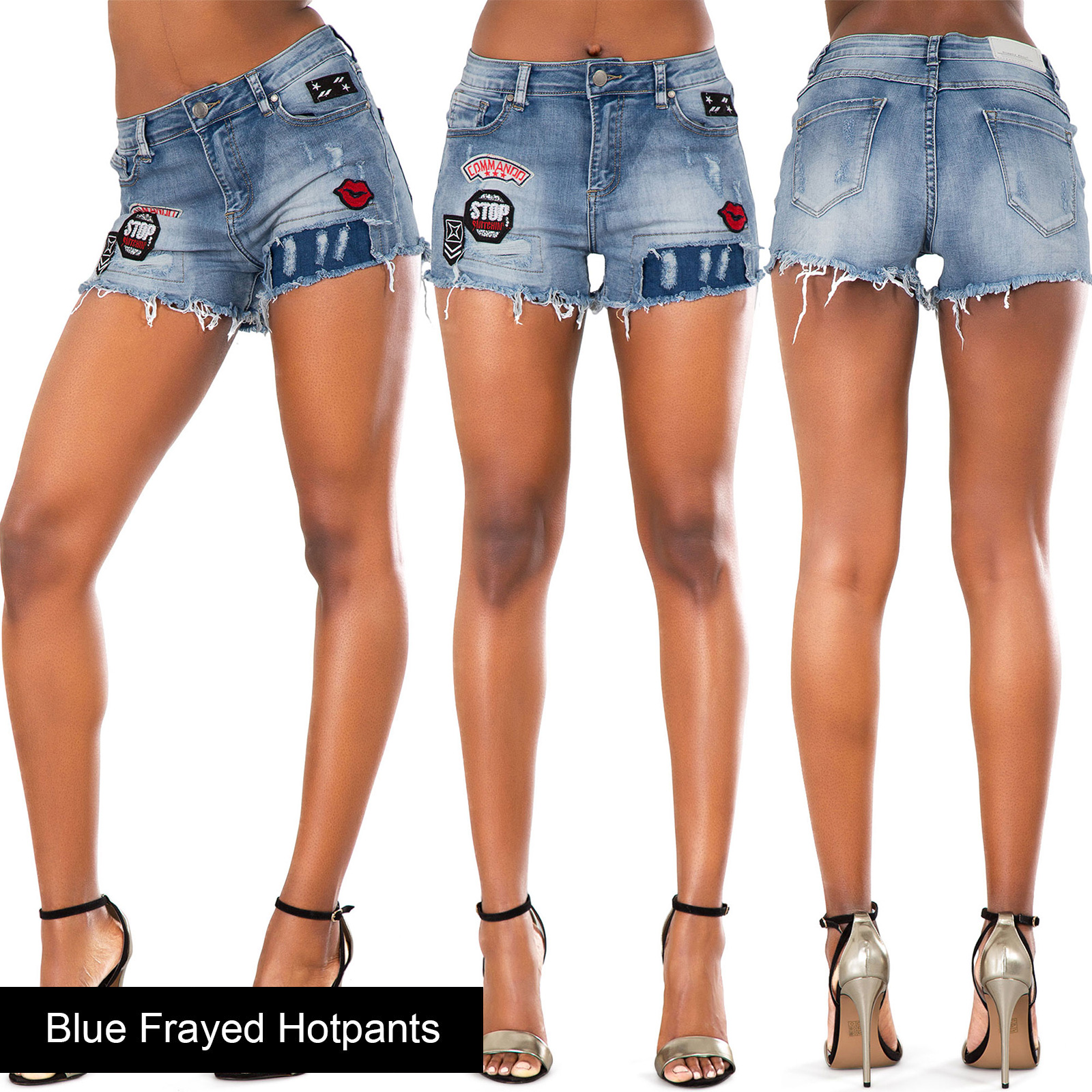 New Ladies Womens Blue Denim Shorts High Waisted Ripped Sexy ...
