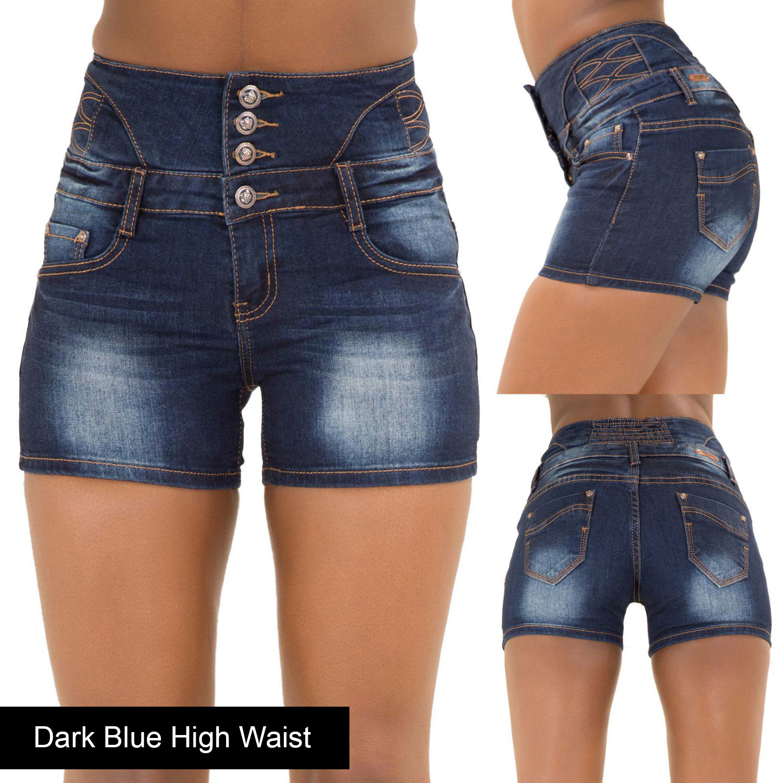 Women Ripped Denim Shorts High Waist Hotpants Ladies Stretch Jeans ...