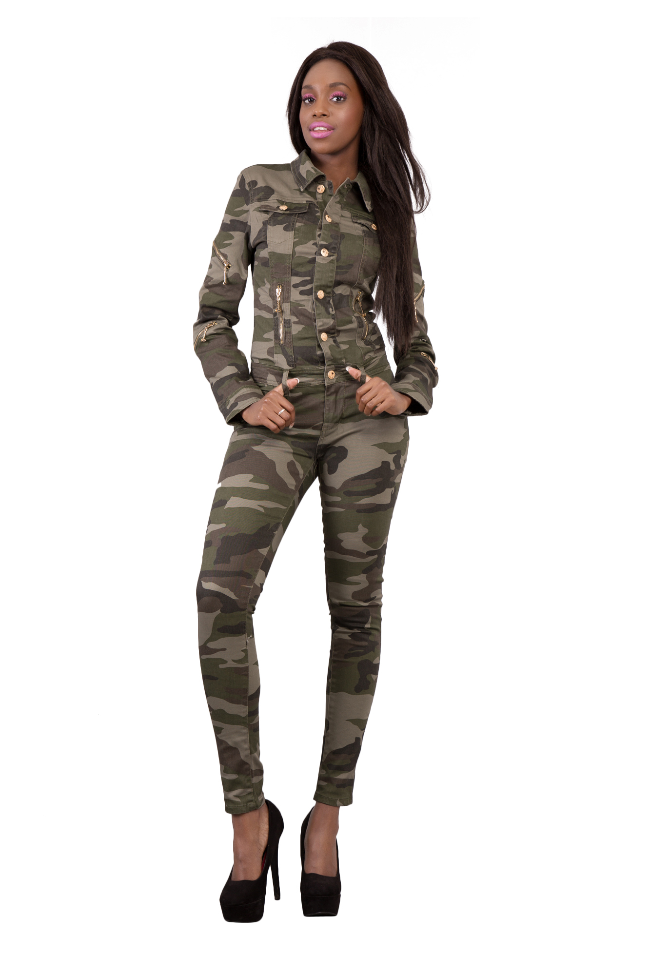 Sexy Women's Camouflage Jeans Jumpsuit Ripped Skinny Legs ...