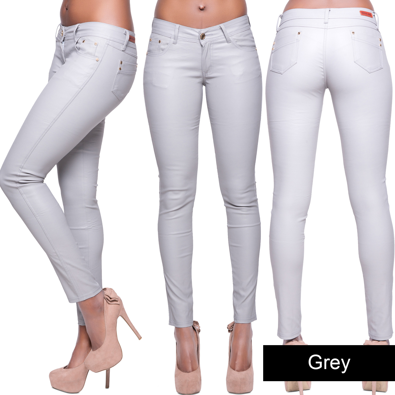 Womens Black Wet Look Leather Jeans Skinny Trouser ...