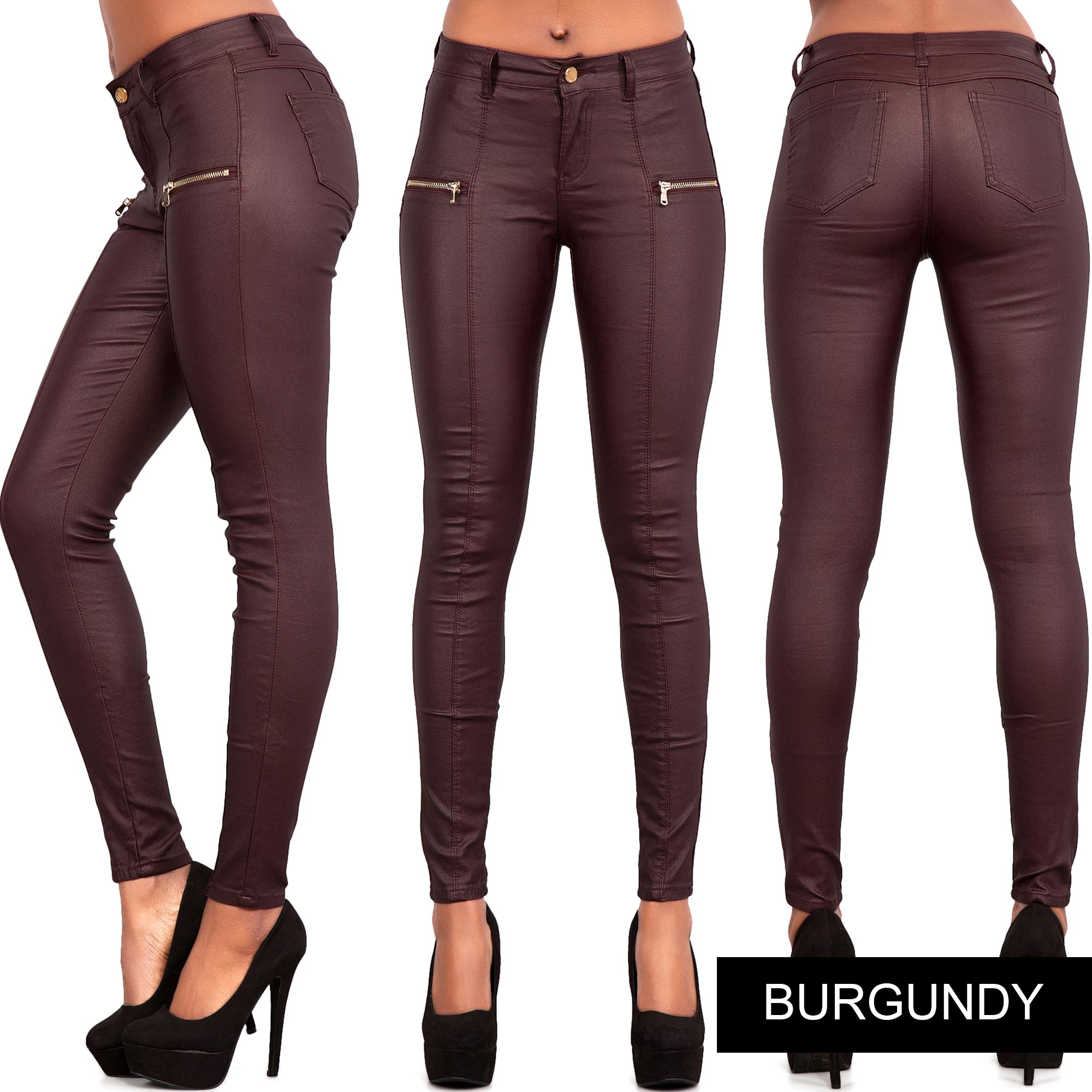 NEW LADIES WOMEN BLACK BROWN LEATHER LOOK LEGGINGS STRETCHY ...