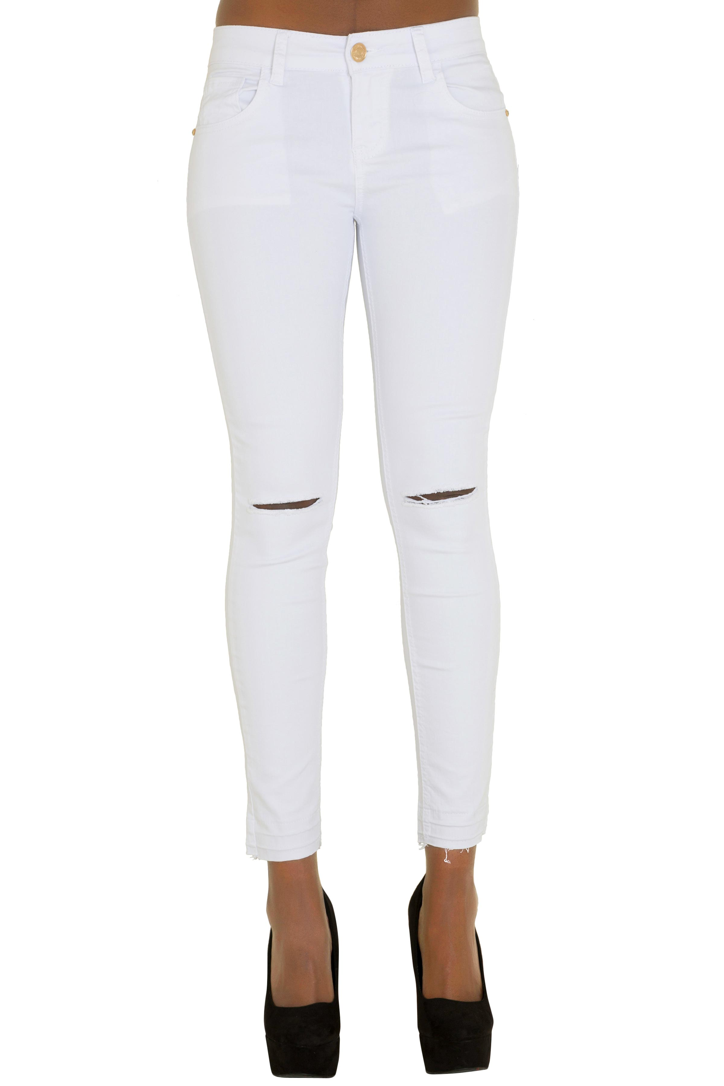WOMENS WHITE RIPPED KNEE CUT JEANS LADIES SLIM FIT SKINNY DENIM ...