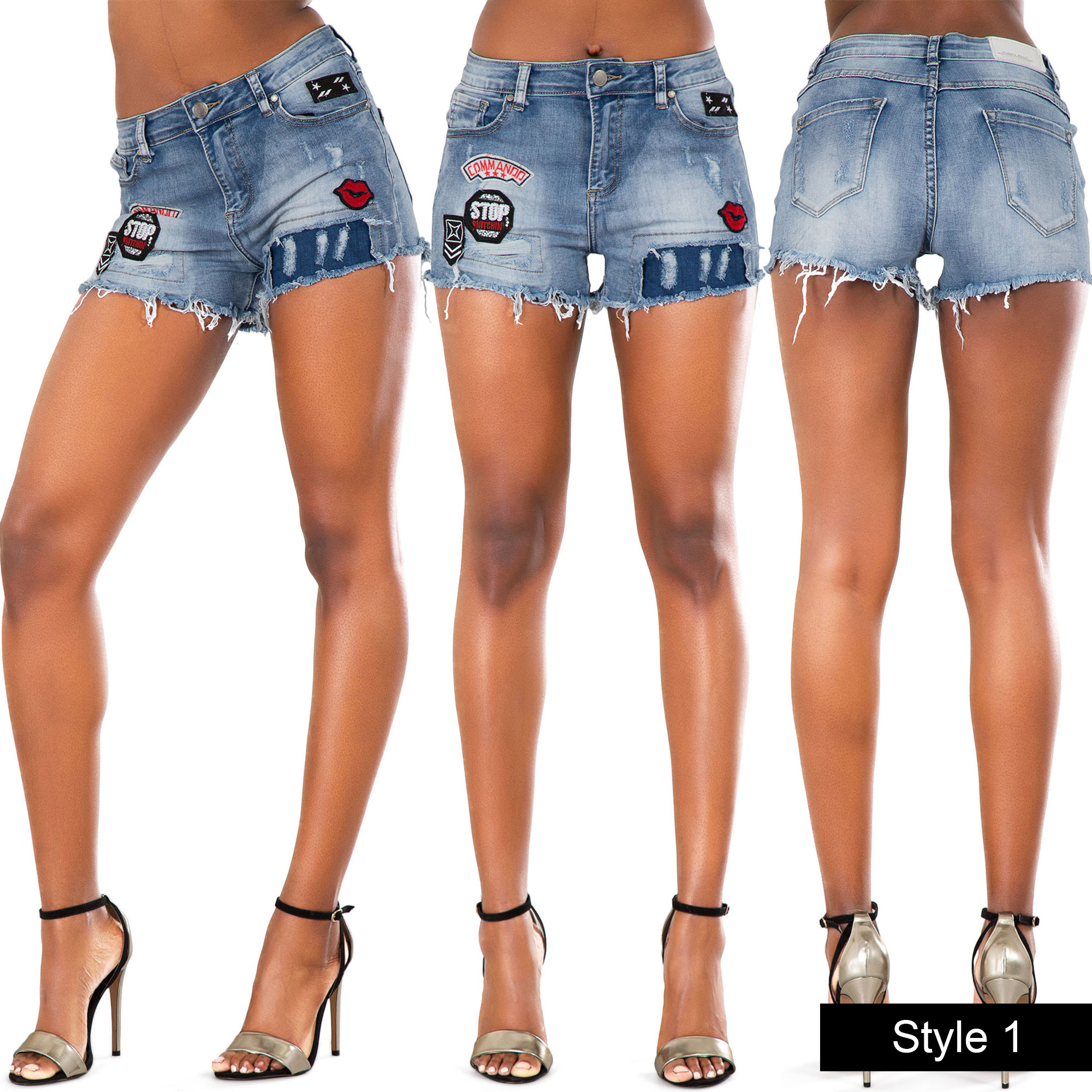 Womens Blue Black High Waist Ripped Jean Shorts Ladies Denim ...