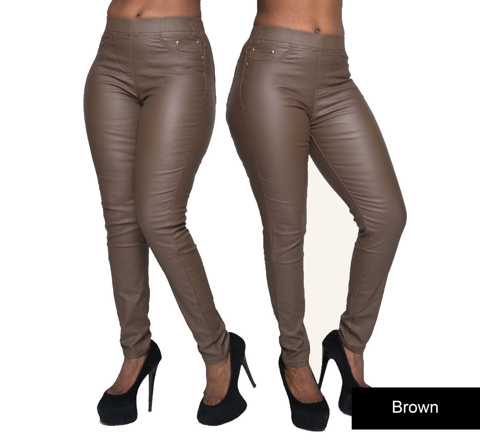 Ladies Women Leather Look Leggings Wet Look Trousers Slim Fit ...