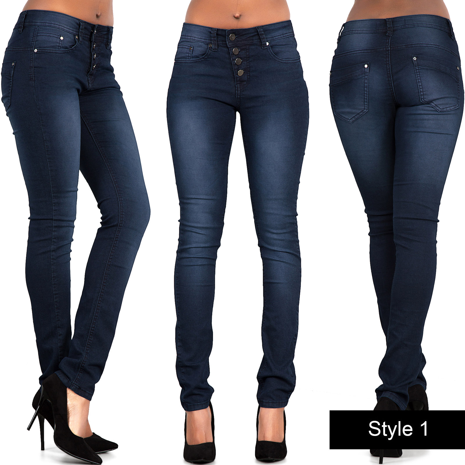 ladies sexy womens high waisted jeans skinny leg stretch. Black Bedroom Furniture Sets. Home Design Ideas
