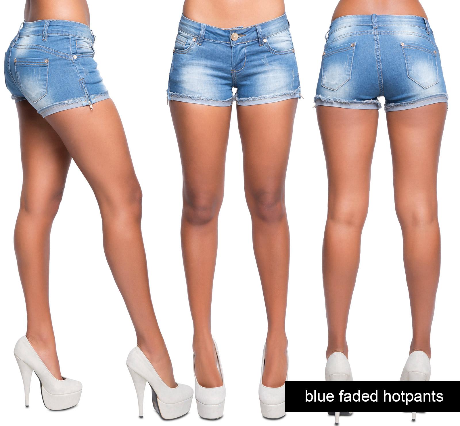 womens sexy blue denim hot pants ladies rip jean summer shorts size 6 8 10 12 14 ebay. Black Bedroom Furniture Sets. Home Design Ideas