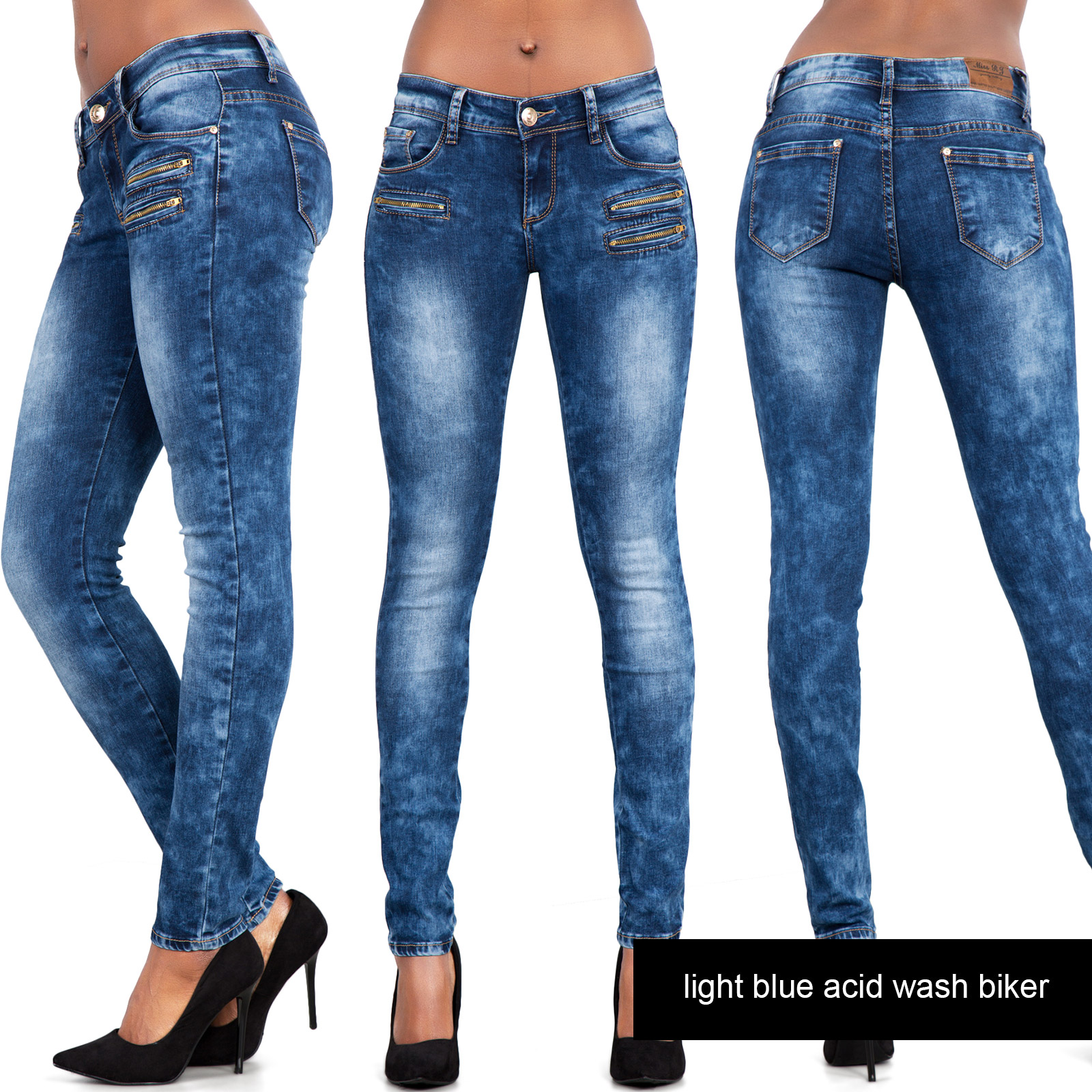NEW Ladies Sexy Low Rise Faded Blue Skinny Jeans Slim Fit Stretch ...