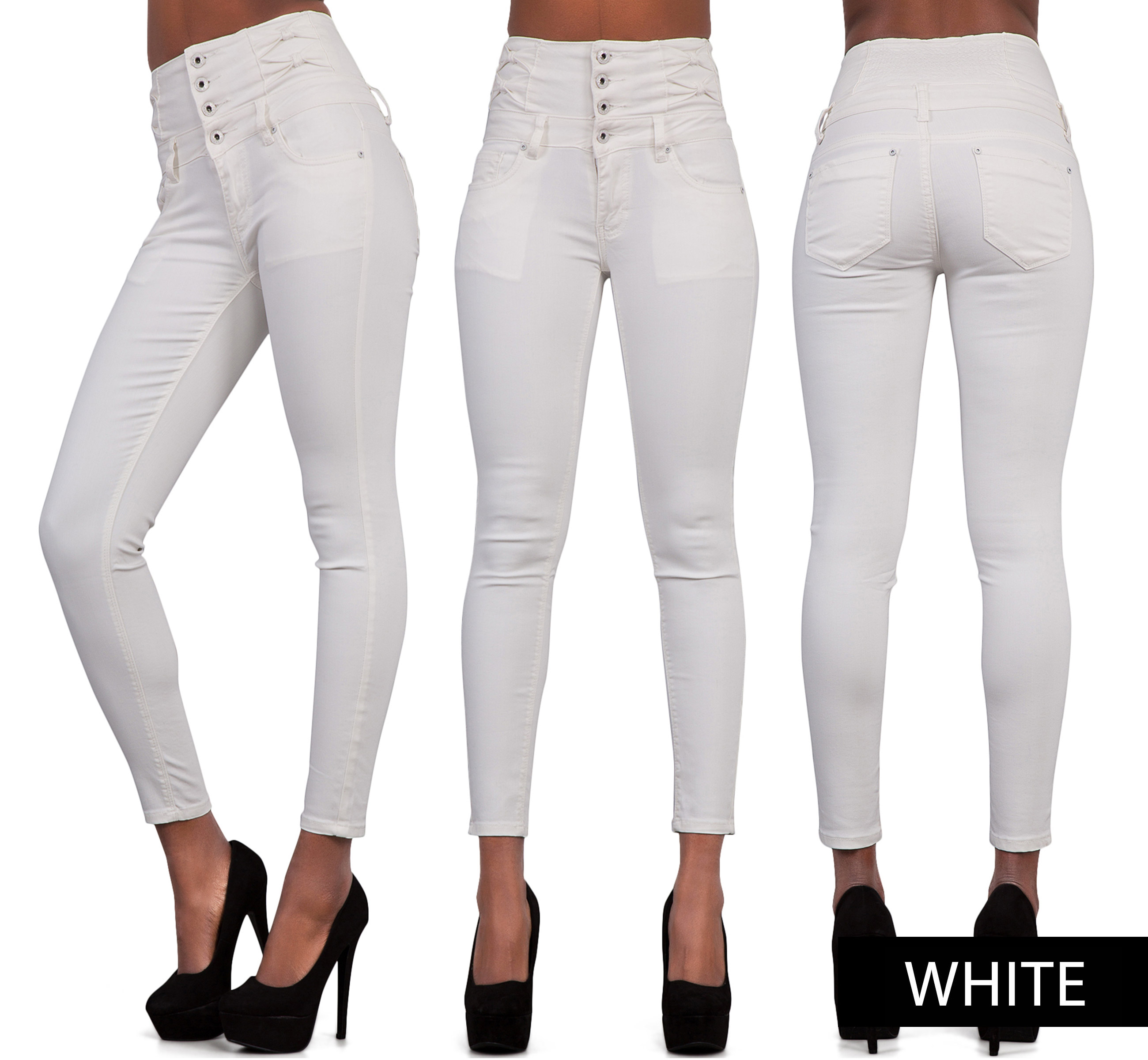 Waist and hip measurements can vary, in the same size jeans, based on where the pants sit. (high-waisted to super-low rise). To compare a pair of pants on eBay to a pair you own, match the rise first.