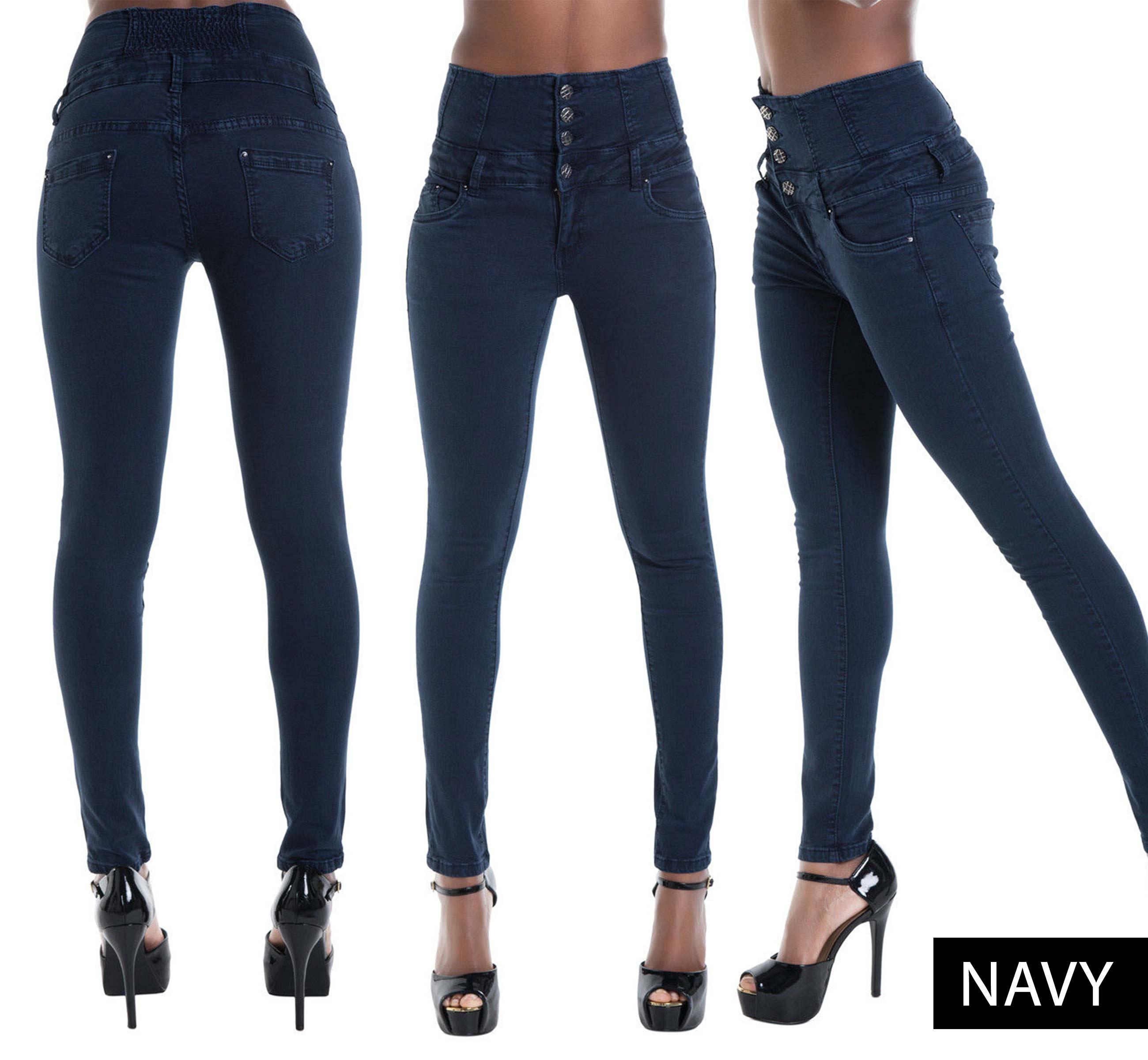 Women 8 Color HIGH Waist Jeans Skinny Leg Stretch Denim Size 6 8 ...