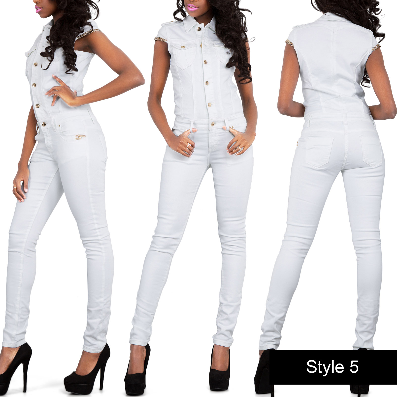 sexy damen tarnfarbe armee overall denim catsuit enge jeans gr e 6 14 ebay. Black Bedroom Furniture Sets. Home Design Ideas