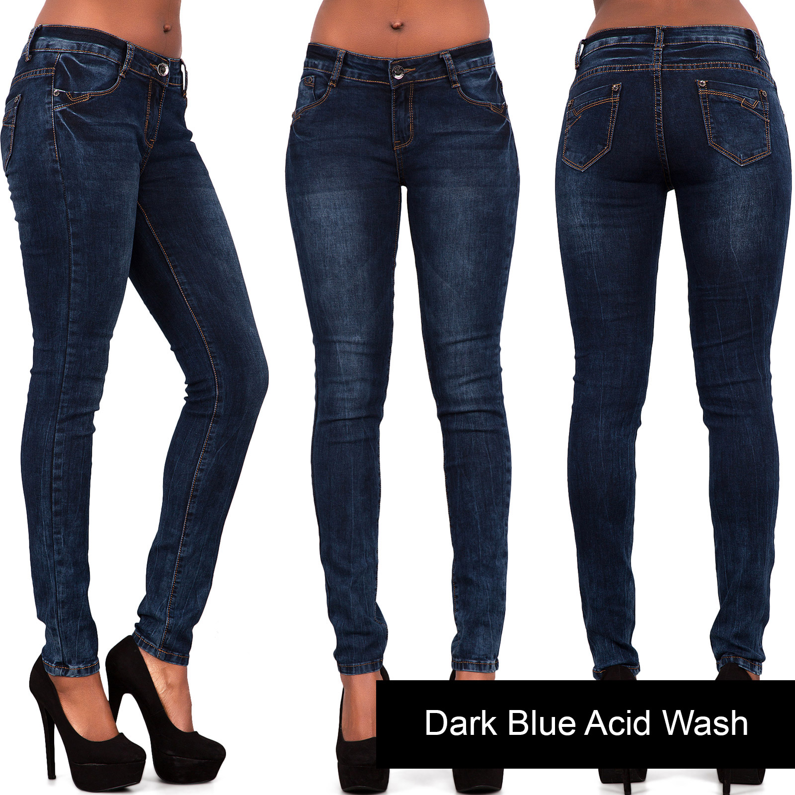 Ladies Women Acid Wash Blue Grey Skinny Jeans Stretch Trouser Size ...