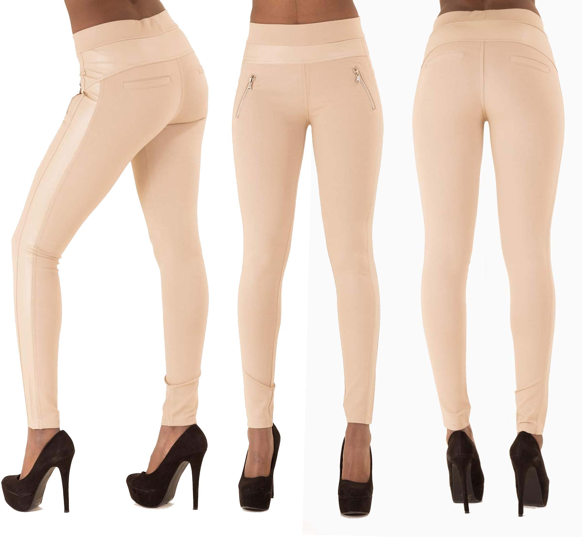 Ladies Women Sexy Black White Beige Leggings Trousers Pants Size ...
