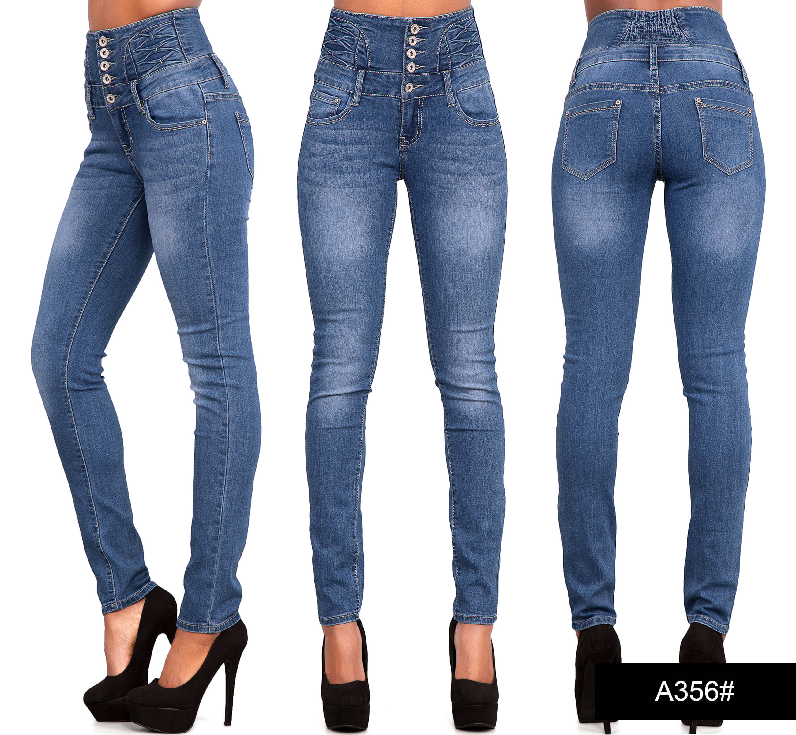Womens Ladies Sexy High Waist Skinny Jeans Blue Stretch Denim Size ...