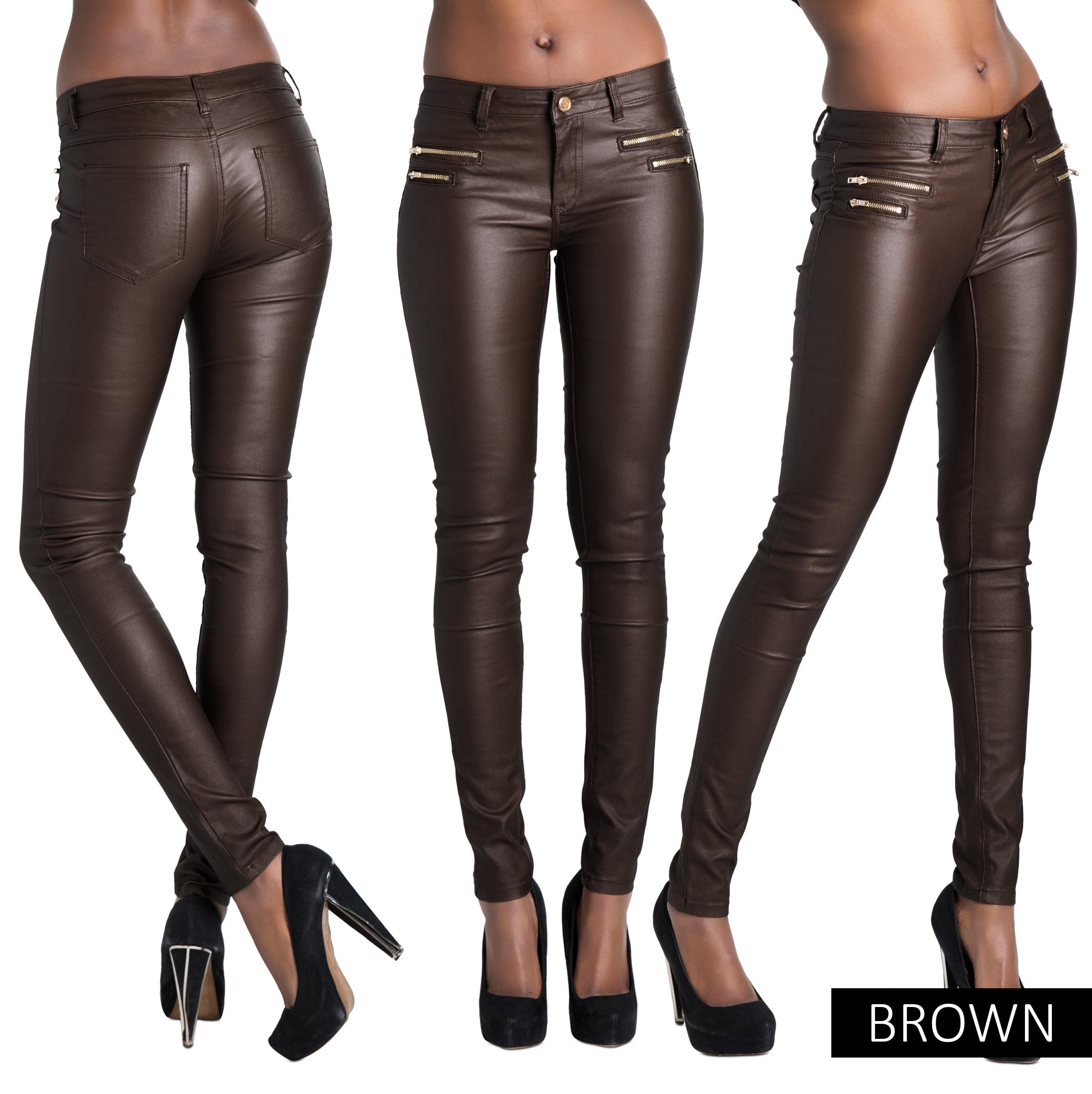 Ladies Women Leather Look Leggings Wet Look Trousers Slim Fit ...