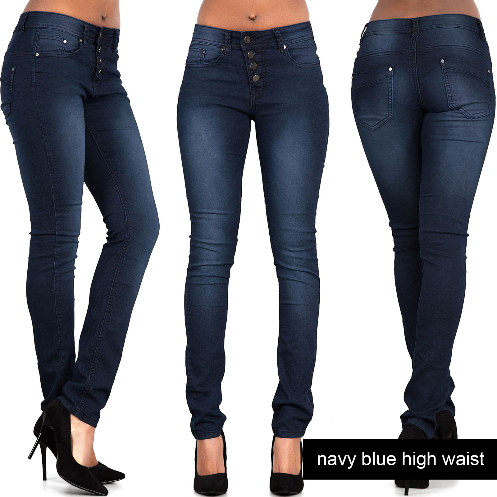Womens Ladies High Waist Ripped Jeans Stretch Denim Plus Size 14 ...