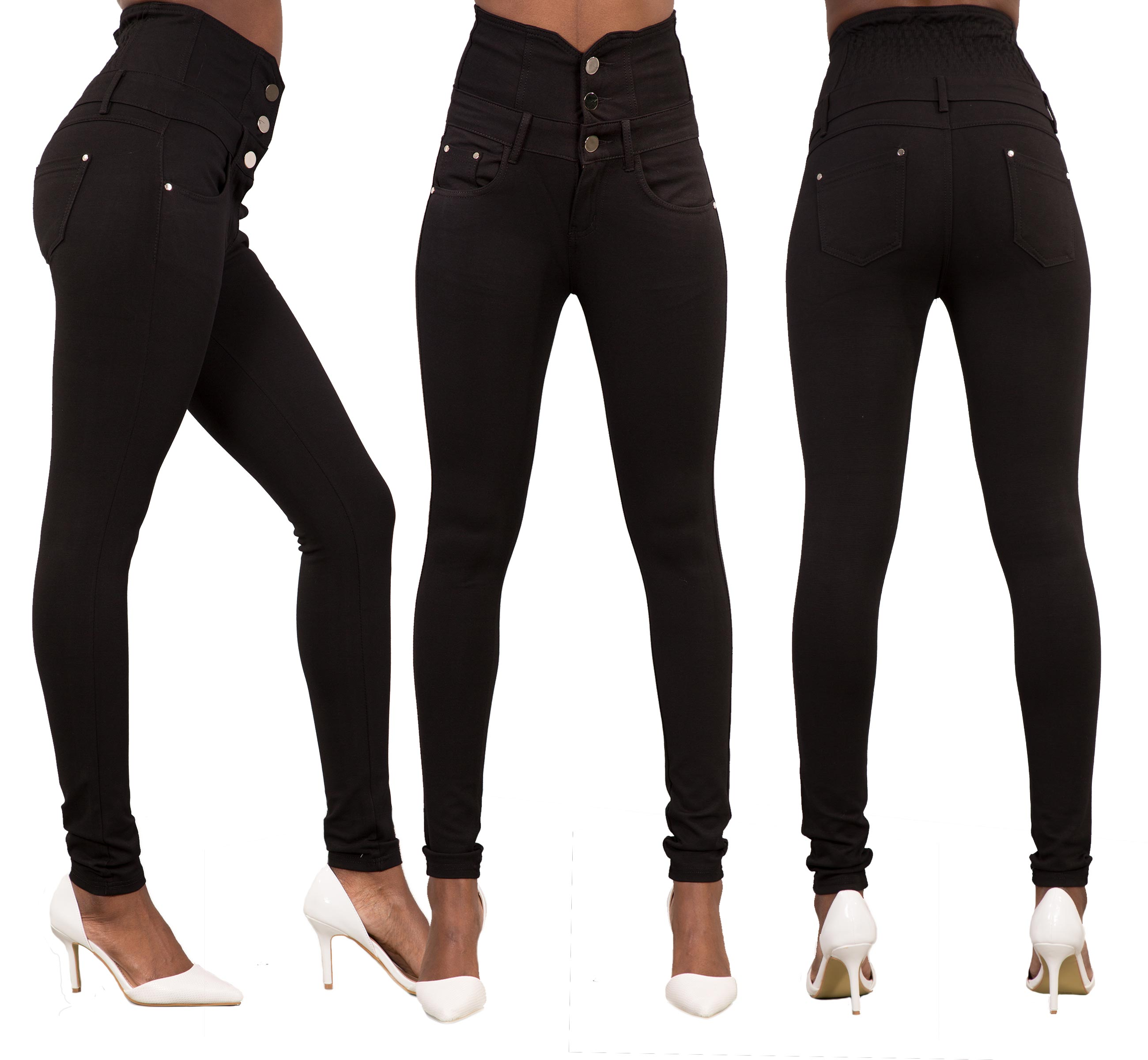 New Women 5 Colour High Waist Pants Skinny Fit Jeans Stretchy Trousers Size 6-14