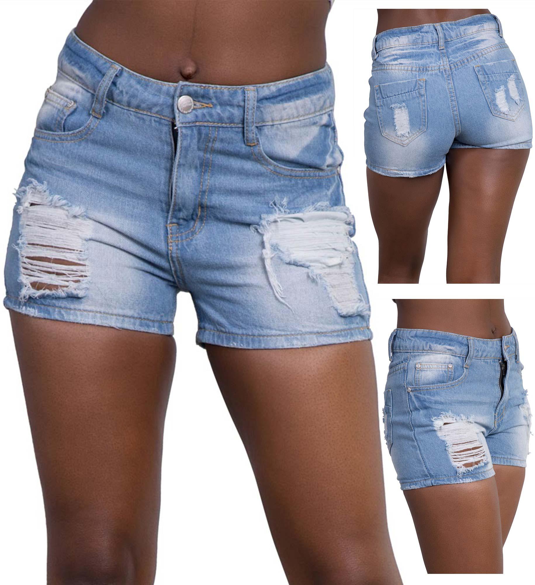 Womens Blue Ripped Jean Shorts Ladies Denim Hotpants Size 6-14