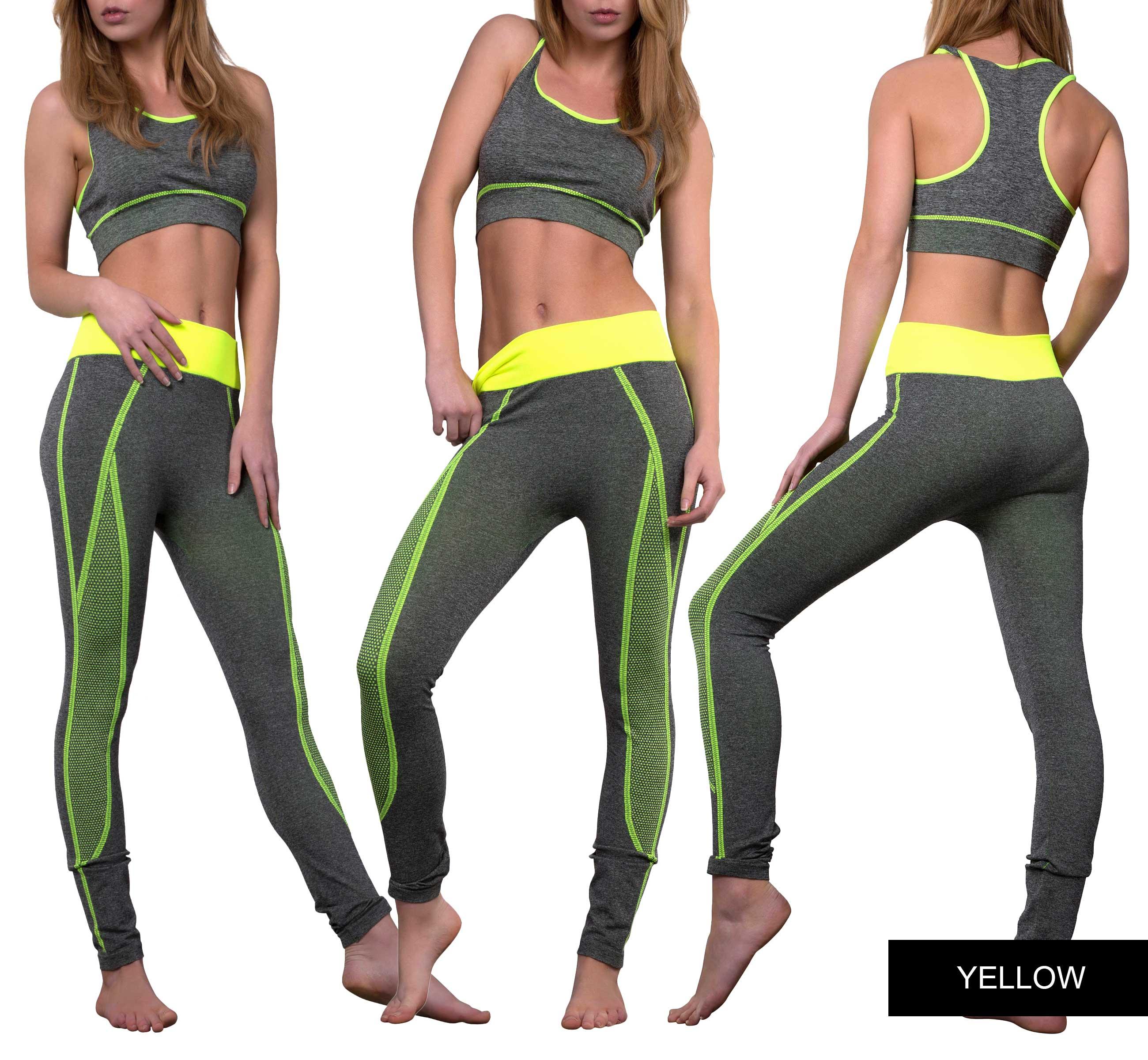 New Ladies Womens Gym Sports Leggings Crop Top Fitness