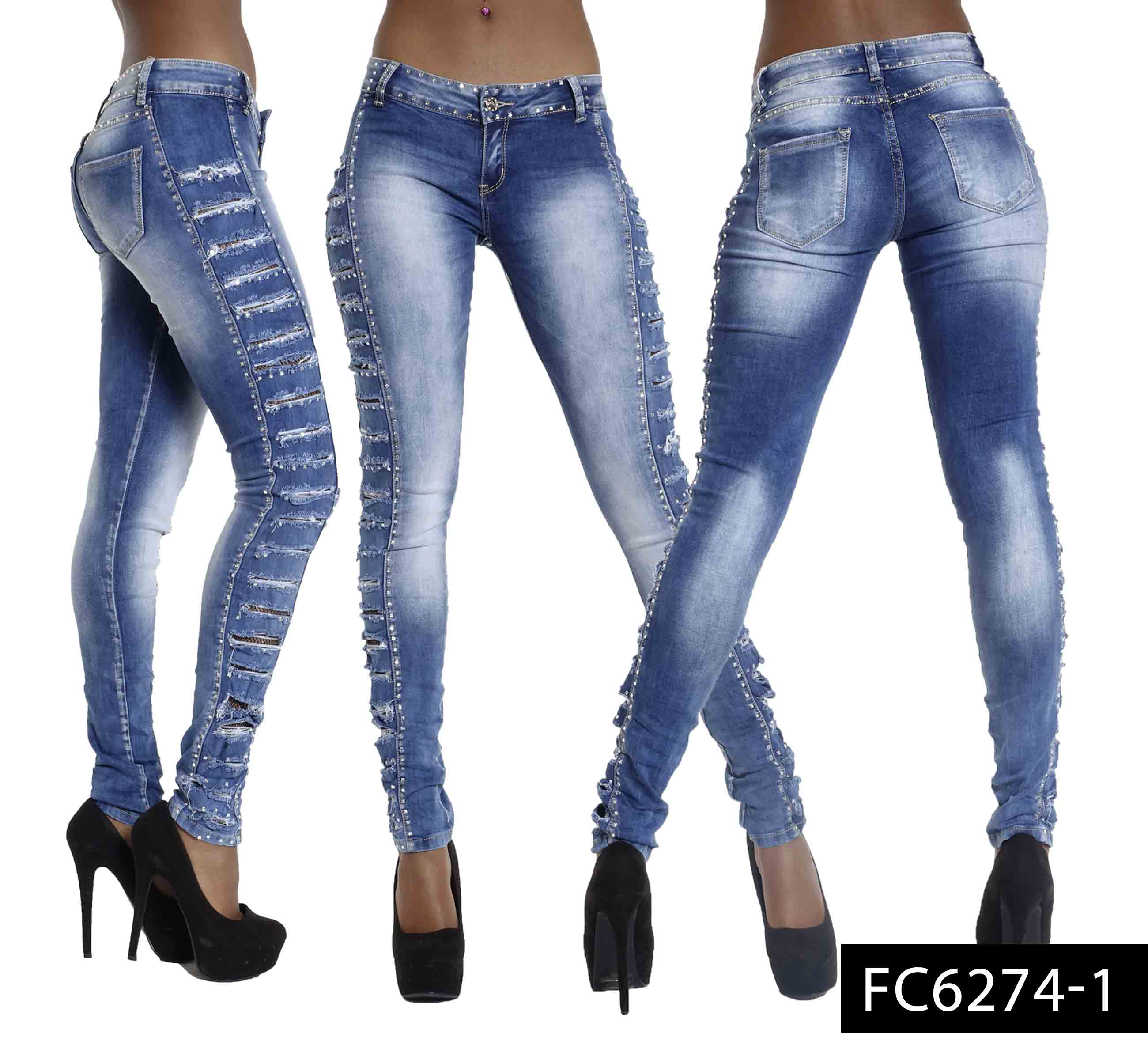 new womens sexy ladies ripped skinny fit jeans stretch denim size 6-14