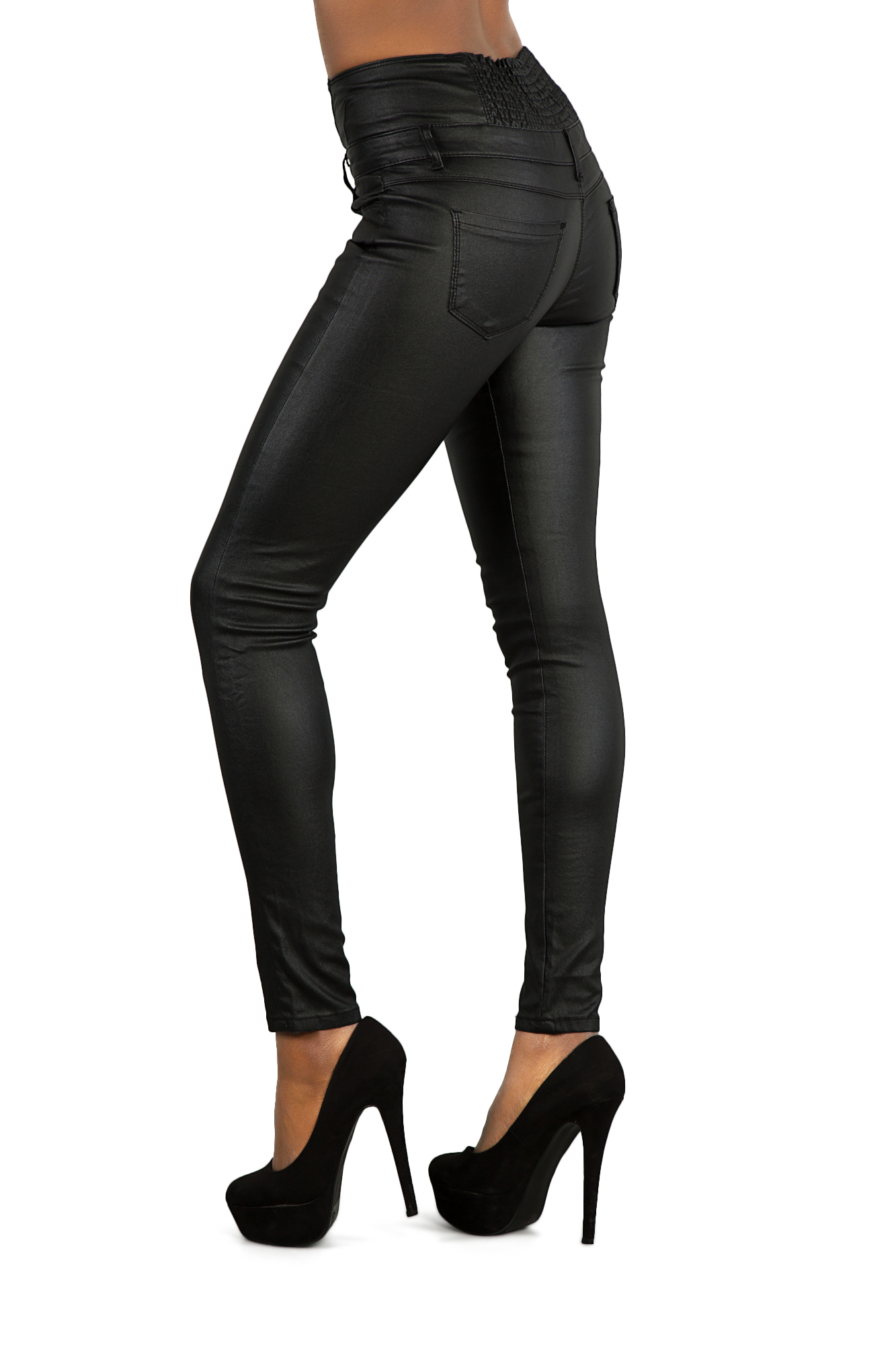 womens high waisted black leather look jeans slim fit. Black Bedroom Furniture Sets. Home Design Ideas