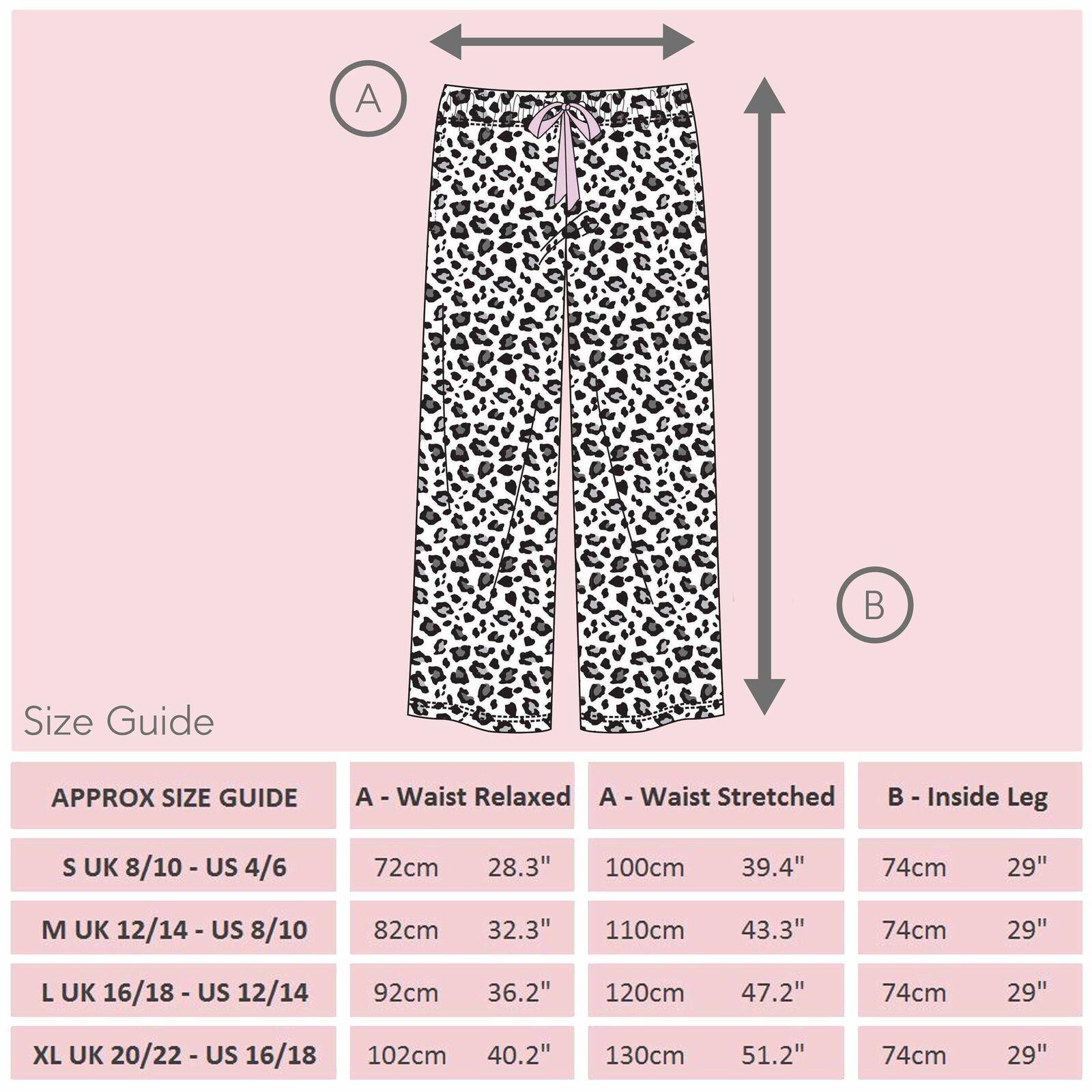 Womens Ladies Leopard Animal Print PJ Pyjama Bottoms Pants Elasticated Drawcord