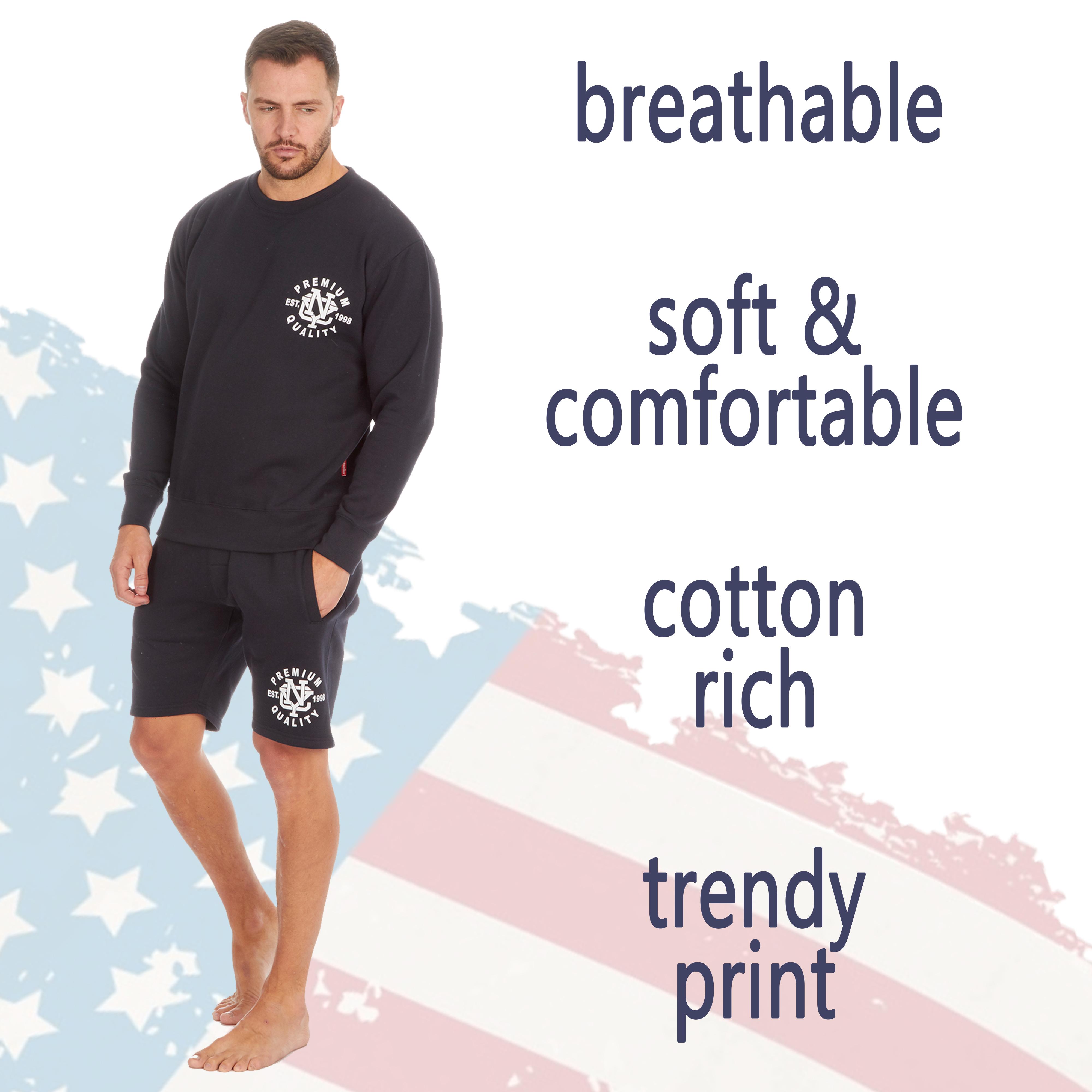 Homme Lounge Set American Themed Cosy de détente Sweat-shirt et short taille S-XXL