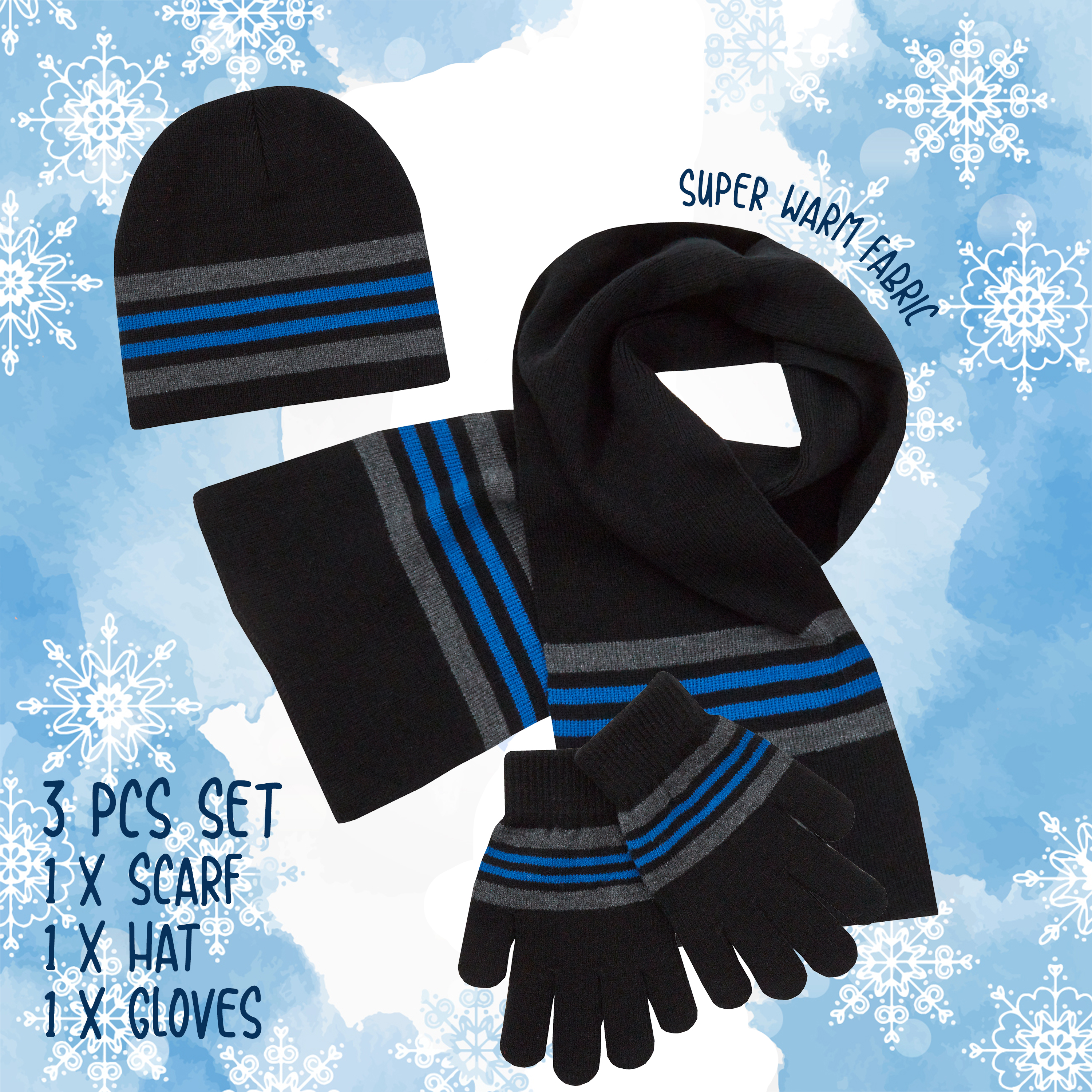 Girls Boys Hat Gloves Scarf Set Warm Winter Christmas Gift Knitted Striped 2-6 Y