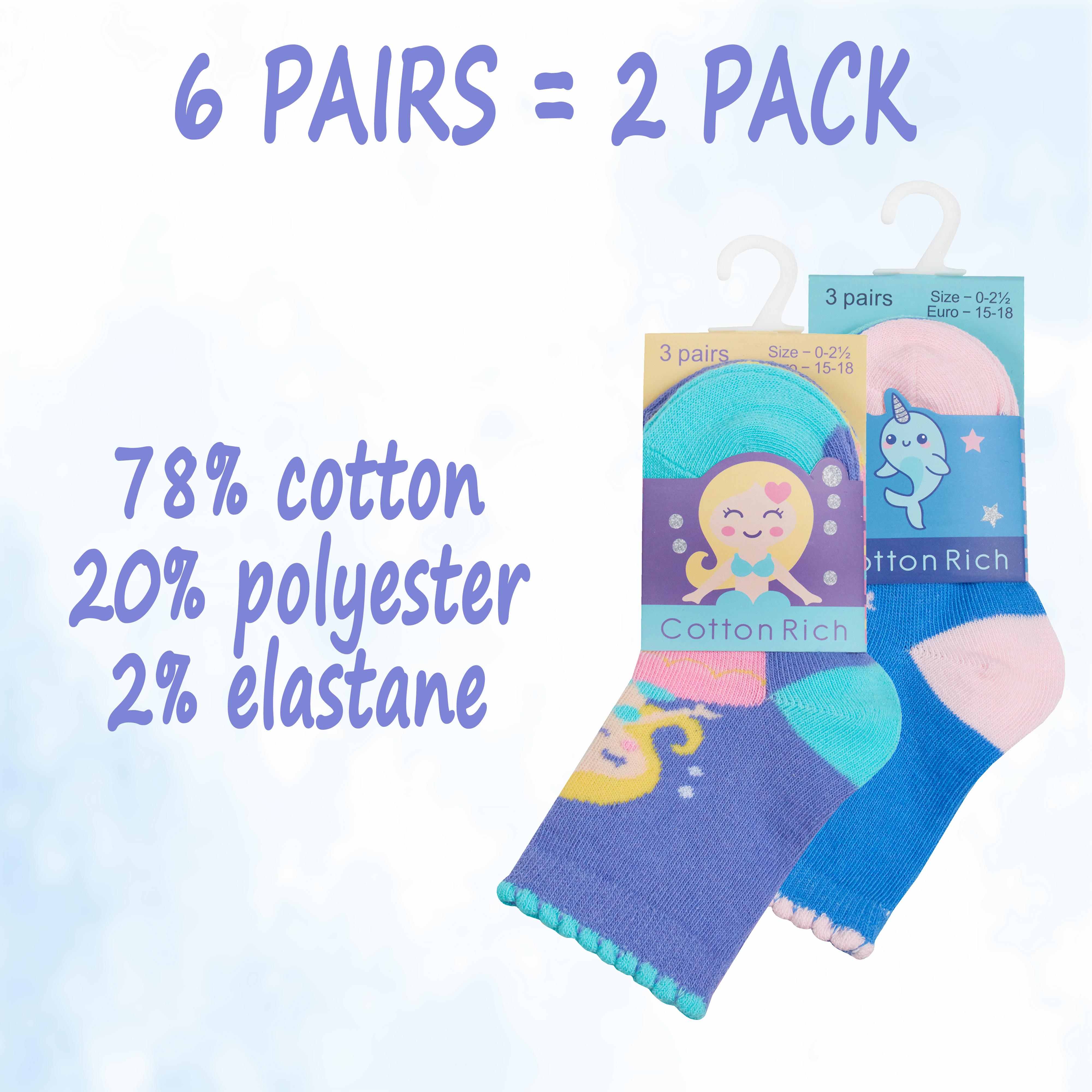 6 Pairs Newborn Babies Baby Girls Designed Socks Scallop Edge Unicorn Size 0-5.5