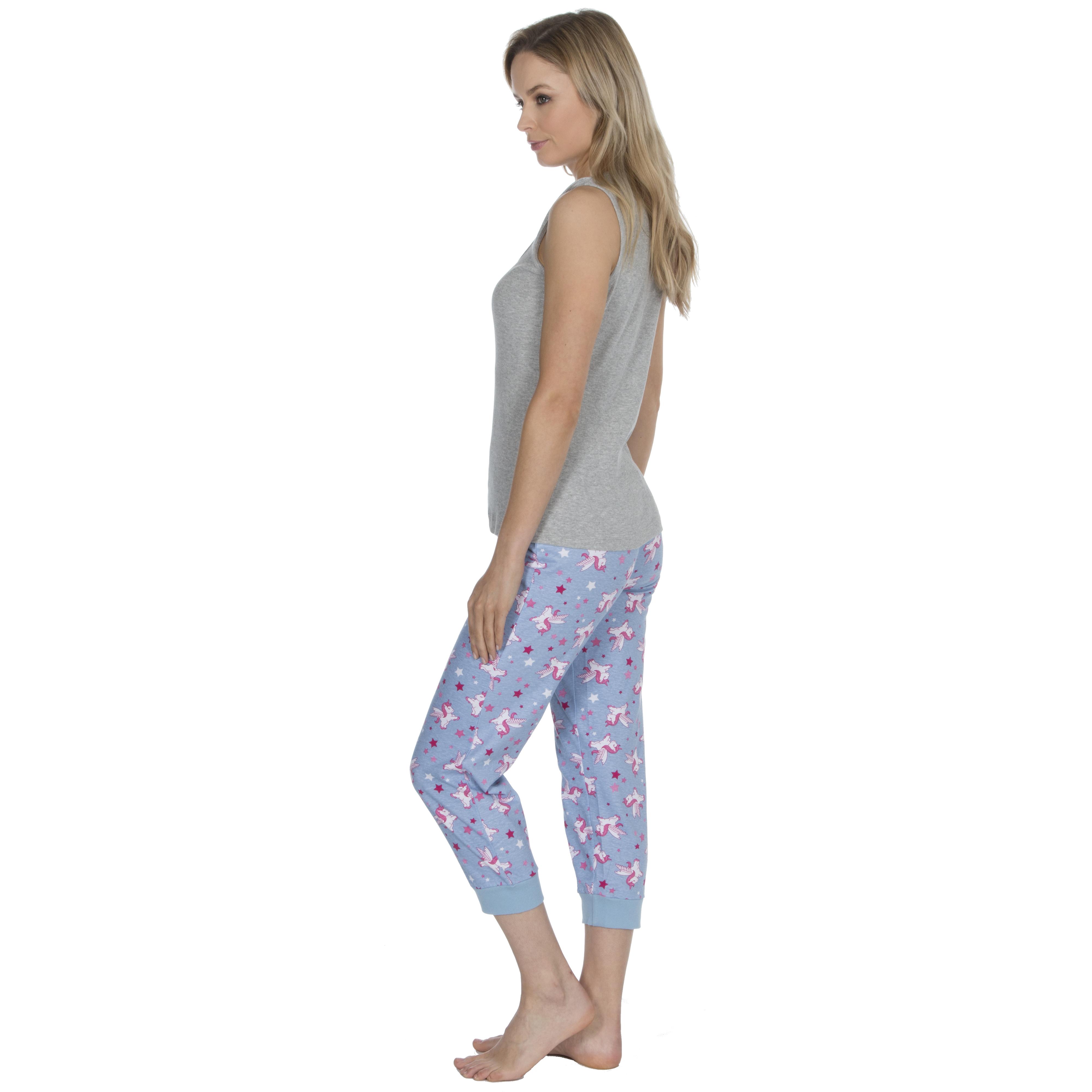 Ladies Unicorn Pyjama Set Slippers 100/% Cotton PJs Ribbed Vest Novelty Nightwear