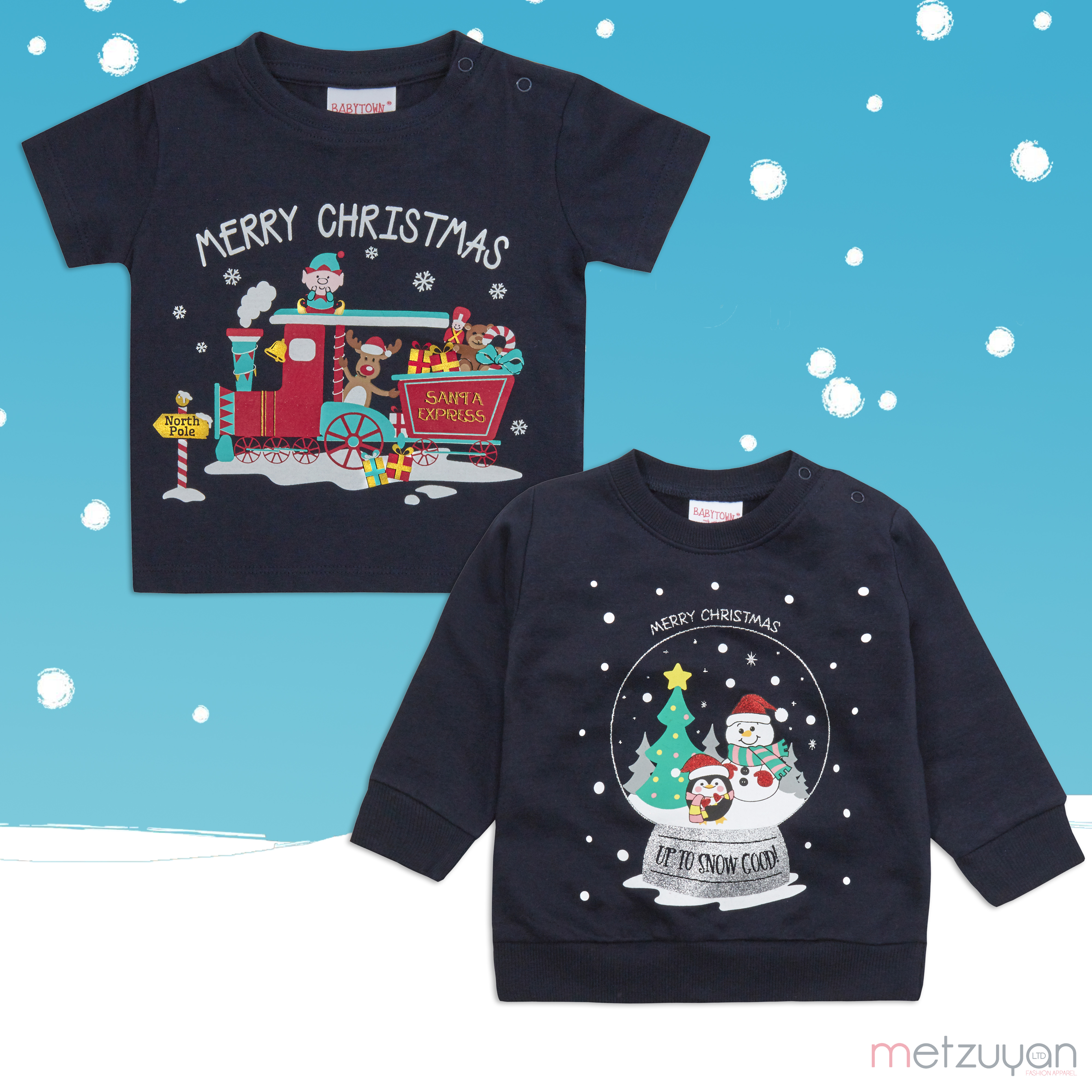 Baby Girls and Boys Unisex Xmas Printed T-Shirt and Sweater Christmas Design Set