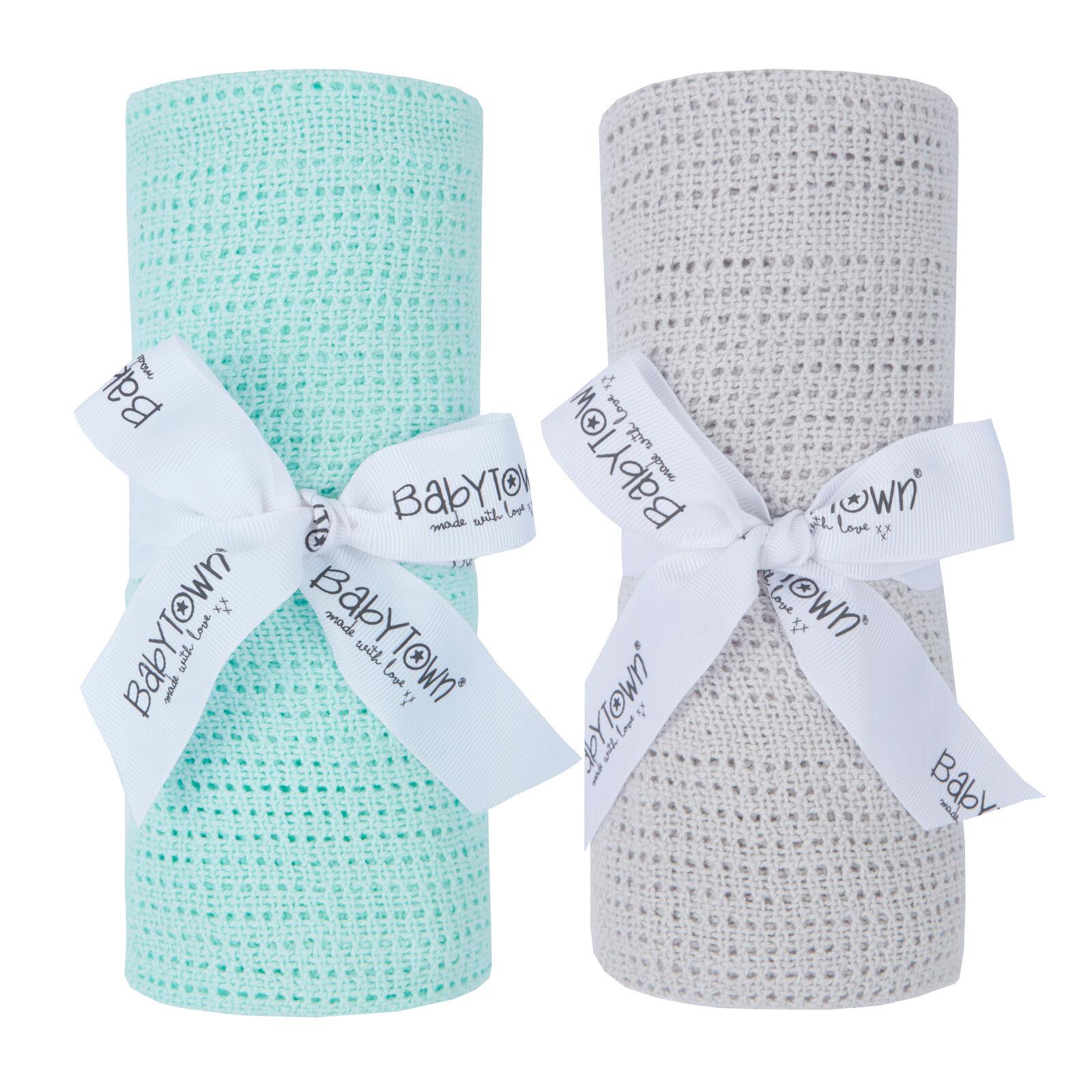 Baby Boys and Girls Soft Cellular Blanket Cotton Pram Cot Moses Basket Crib Wrap