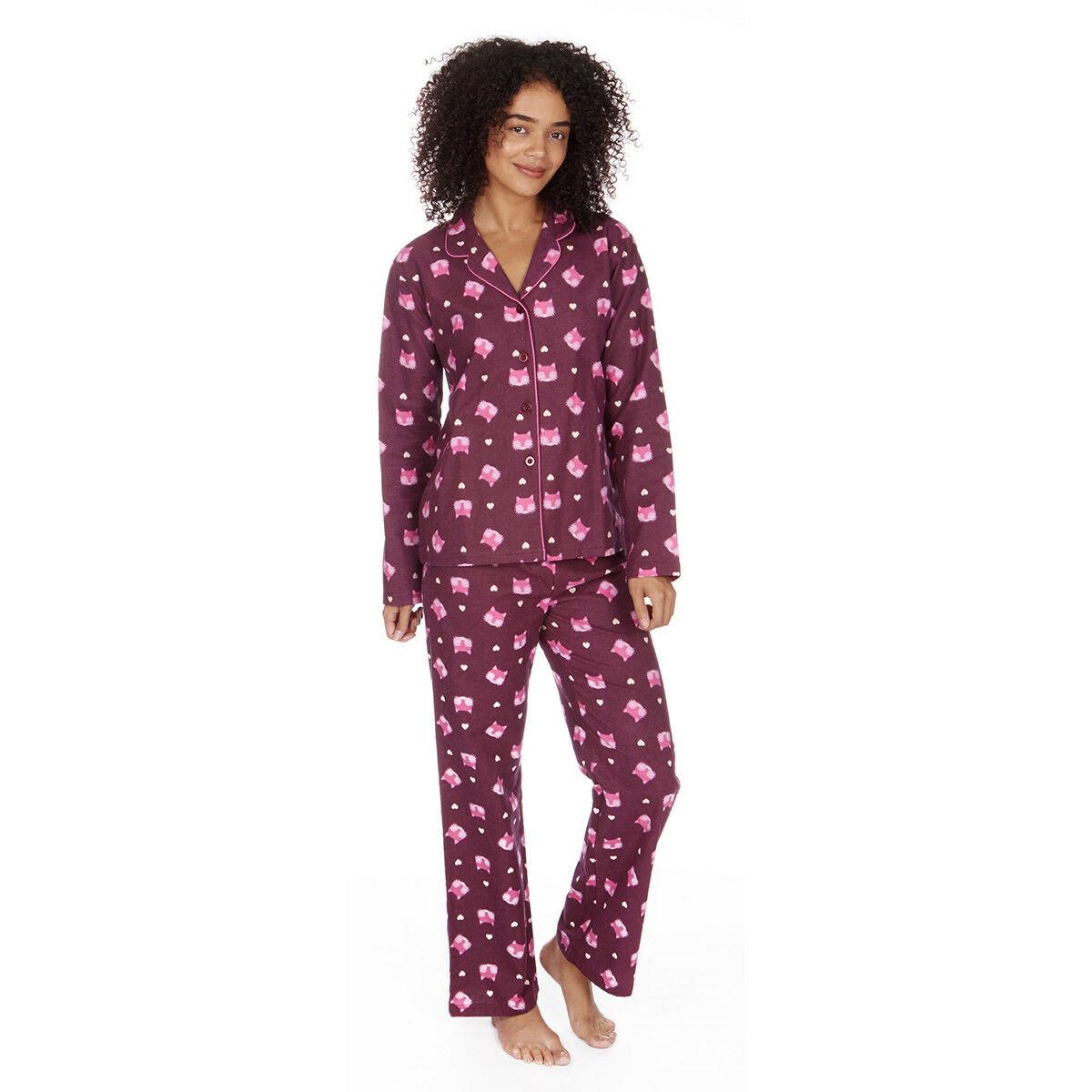 Women/'s Ladies Cotton Flannel Pyjama PJ Set Buttoned Night Owl Sleepwear New UK