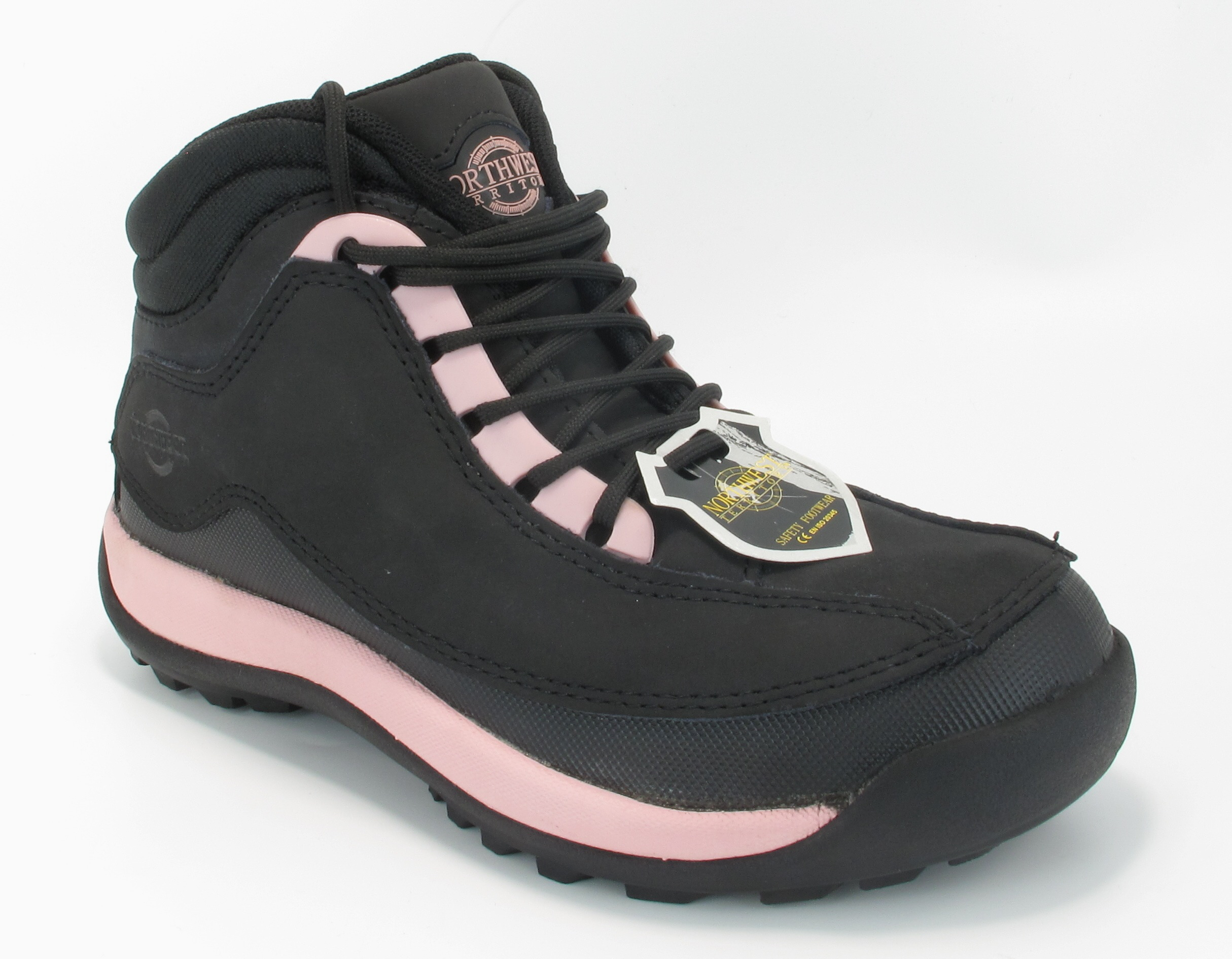 womens steel toe cap safety working boots black